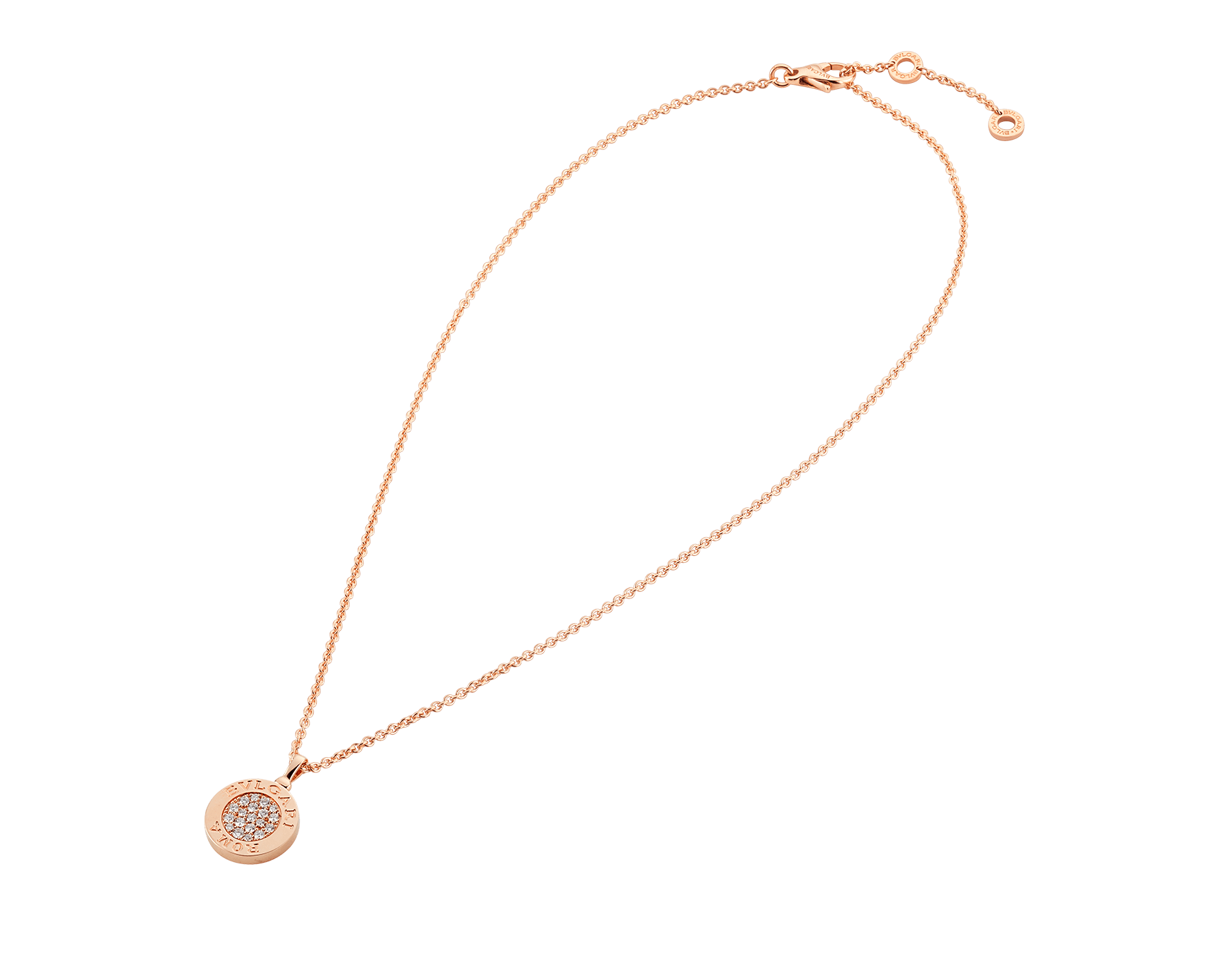 BVLGARI BVLGARI necklace with 18 kt rose gold chain and 18 kt rose gold pendant set with onyx and pavé diamonds 350815 image 2