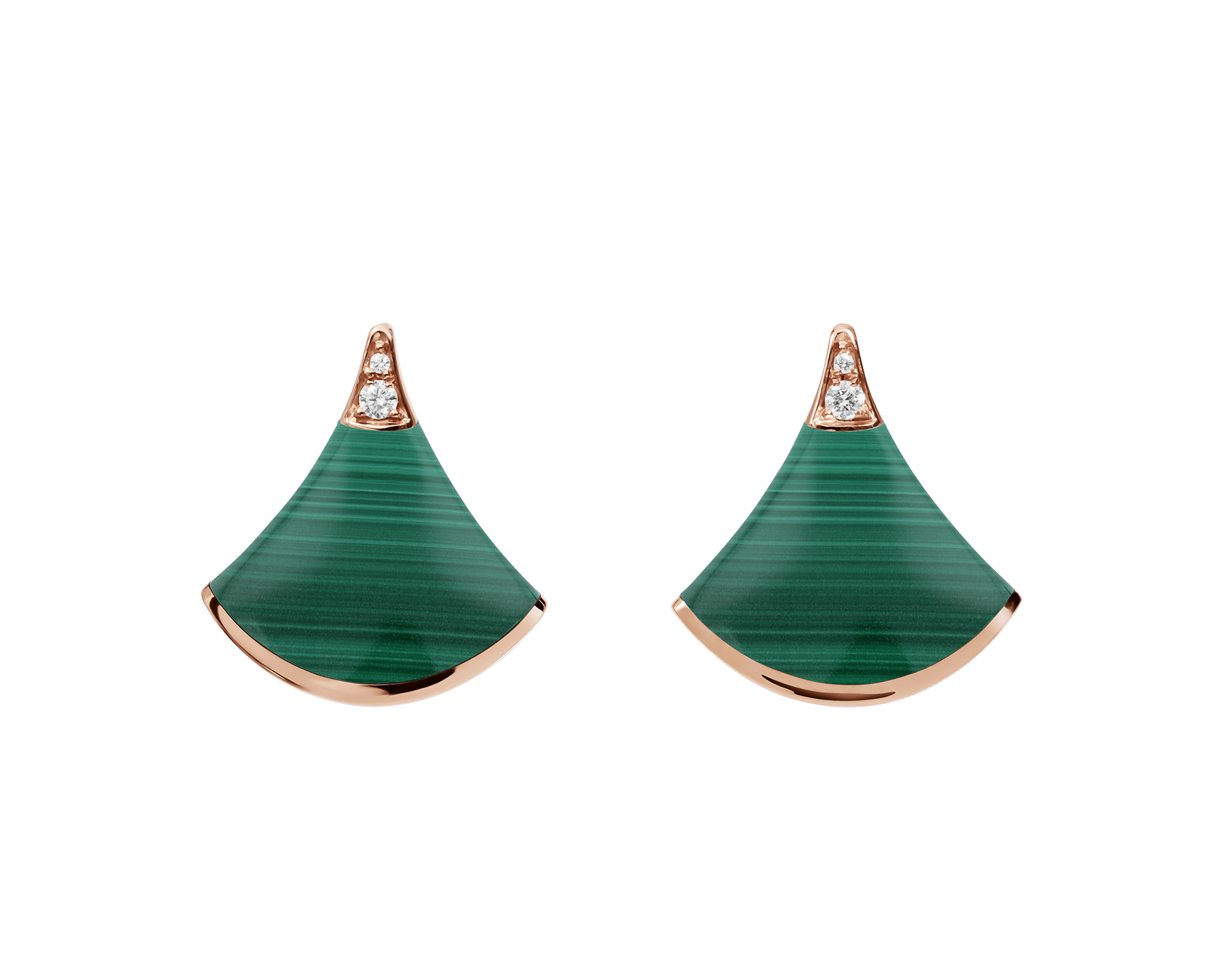 Boucles d'oreilles DIVAS' DREAM en or rose 18 K serties d'éléments en malachite et pavé diamants (0,03 ct) 355794 image 1