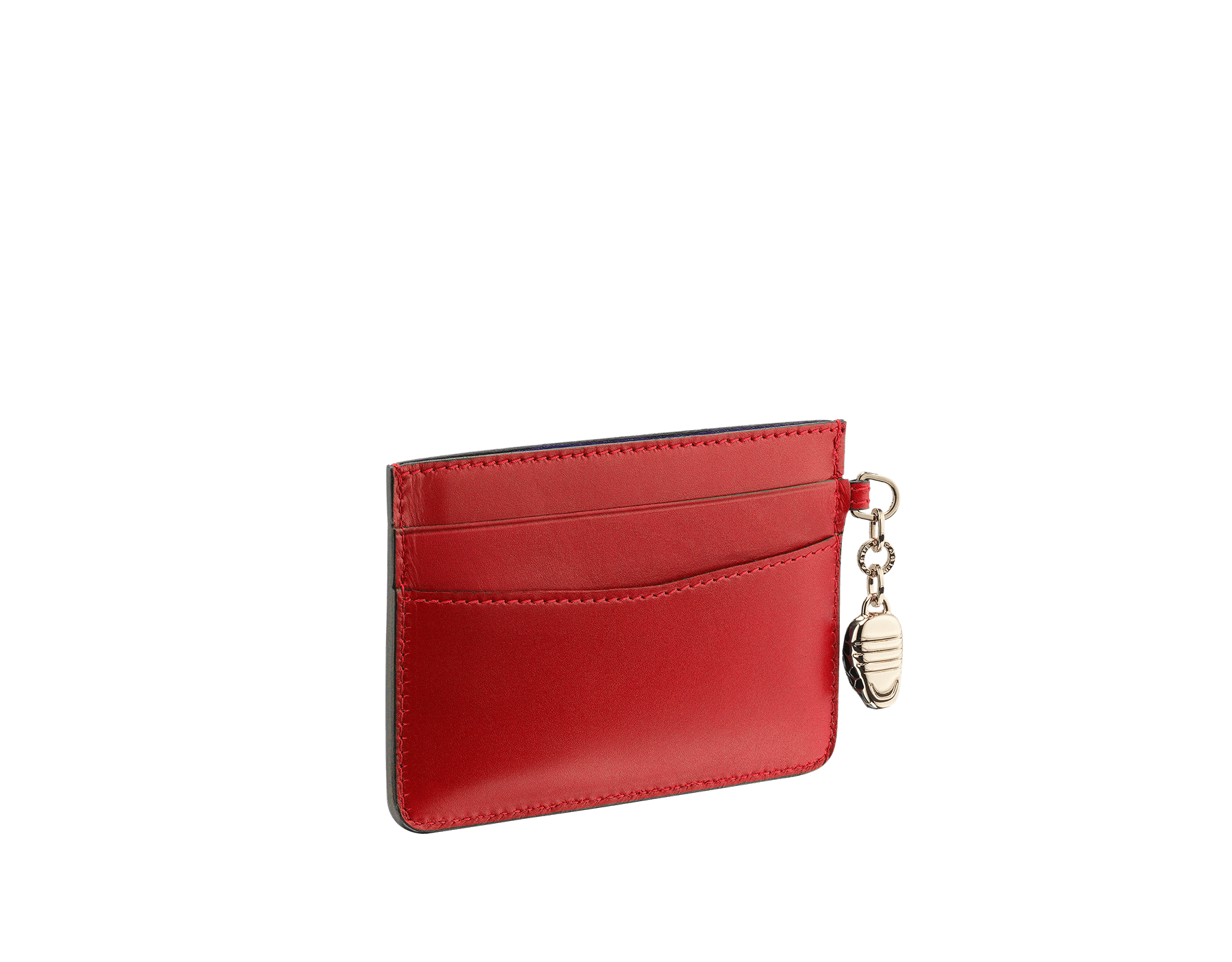 Credit card holder in ruby red and desert quartz calf leather. Serpenti charm in black and white enamel with green malachite enamel eyes and Bulgari logo in metal characters. 282020 image 2