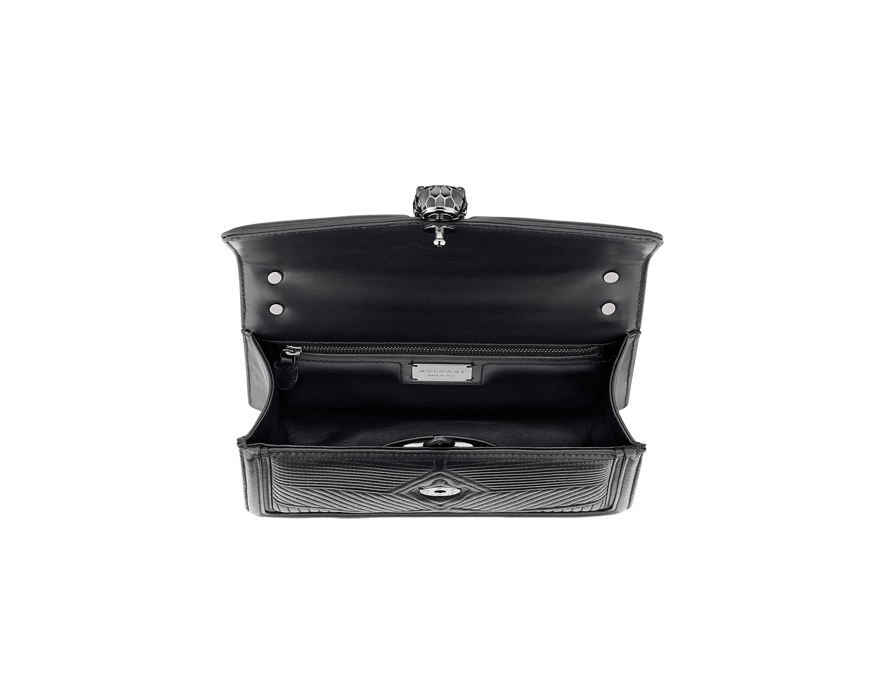 """Serpenti Diamond Blast"" shoulder bag in crystal rose quilted nappa leather body and crystal rose calf leather frames. Iconic snakehead closure in light gold plated brass enriched with black and crystal rose enamel and black onyx eyes 922-FQDa image 4"