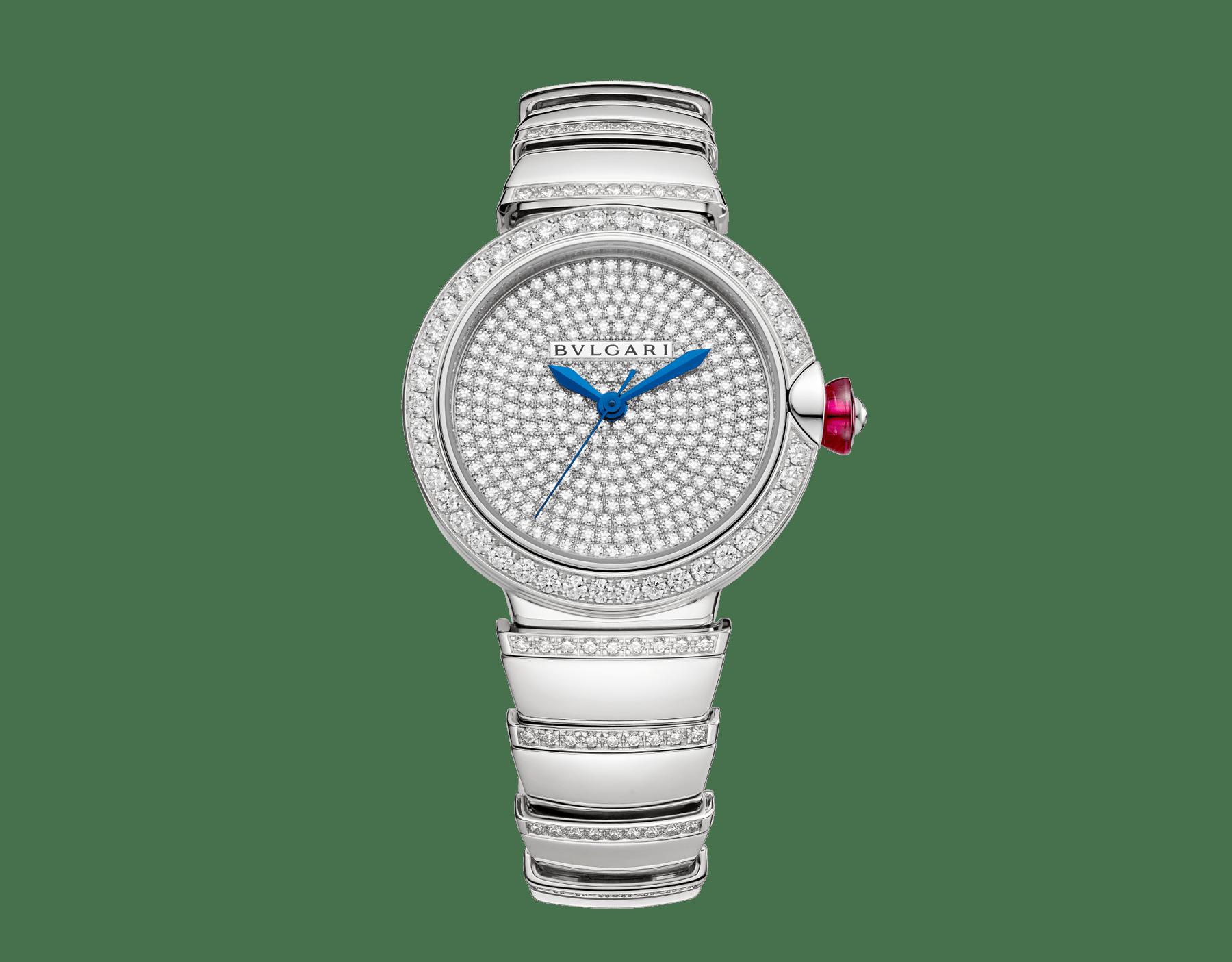 Orologio LVCEA con cassa e bracciale in oro bianco 18 kt con diamanti taglio brillante e quadrante con pavé di diamanti. 102380 image 1