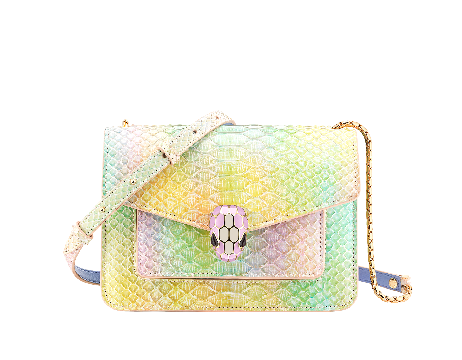 """Serpenti Forever"" crossbody bag in rainbow-coloured ""Spring Shade"" python skin, with Lavender Amethyst lilac nappa leather inner lining. Tempting snakehead closure in gold-plated brass enhanced with lilac and white agate enamel and black onyx eyes. 290567 image 1"