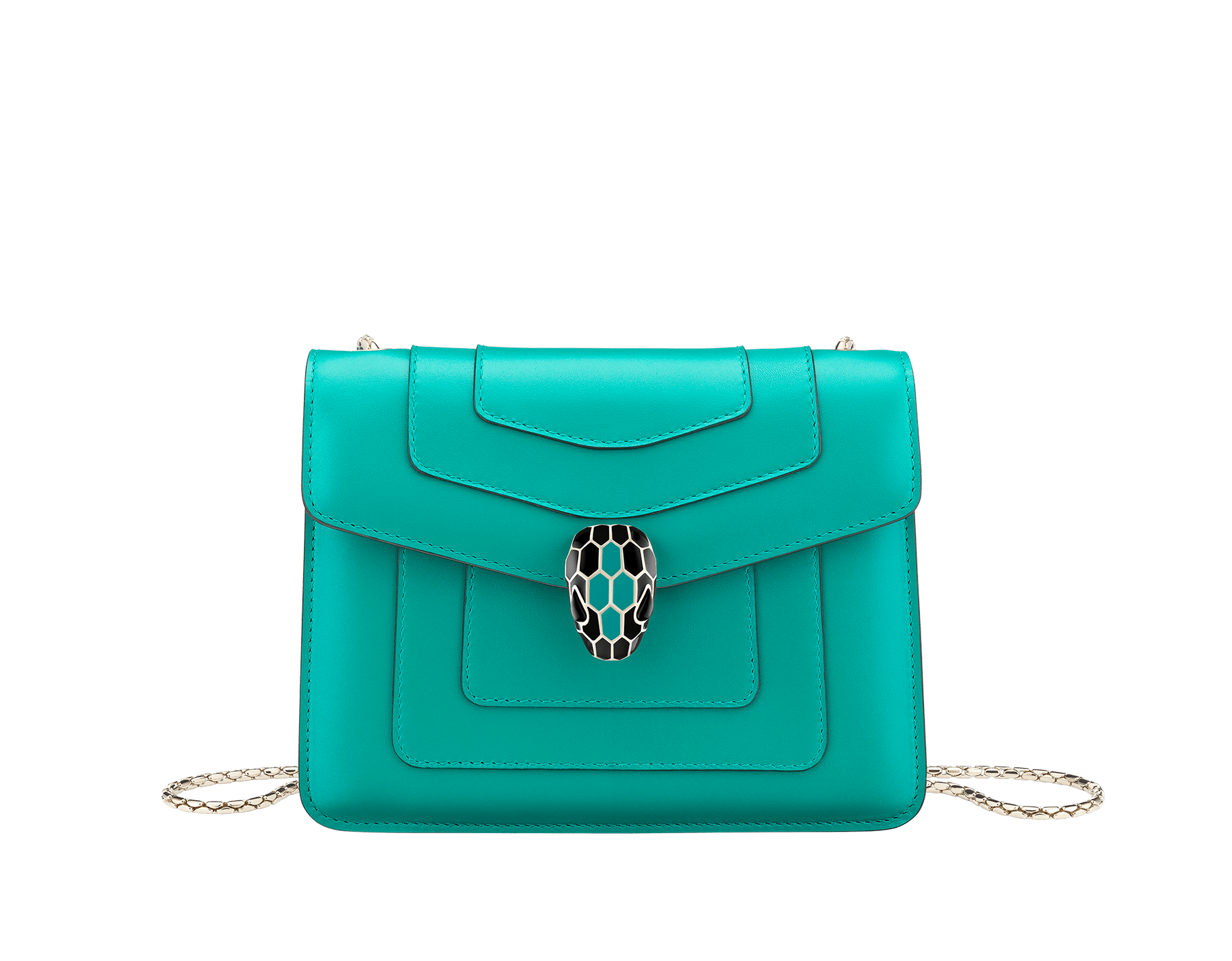 Serpenti Forever crossbody bag in tropical turquoise smooth calf leather body and sea star coral calf leather sides. Snakehead closure in light gold plated brass decorated with tropical turquoise and black enamel, and black onyx eyes. 287958 image 1