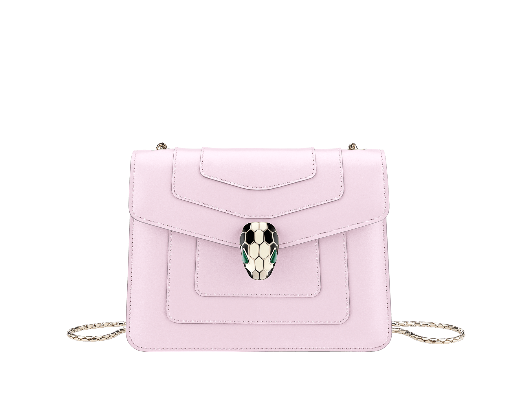 """Serpenti Forever "" crossbody bag in carmine jasper calf leather. Iconic snakehead closure in light gold plated brass enriched with black and white enamel and green malachite eyes 422-CLc image 1"