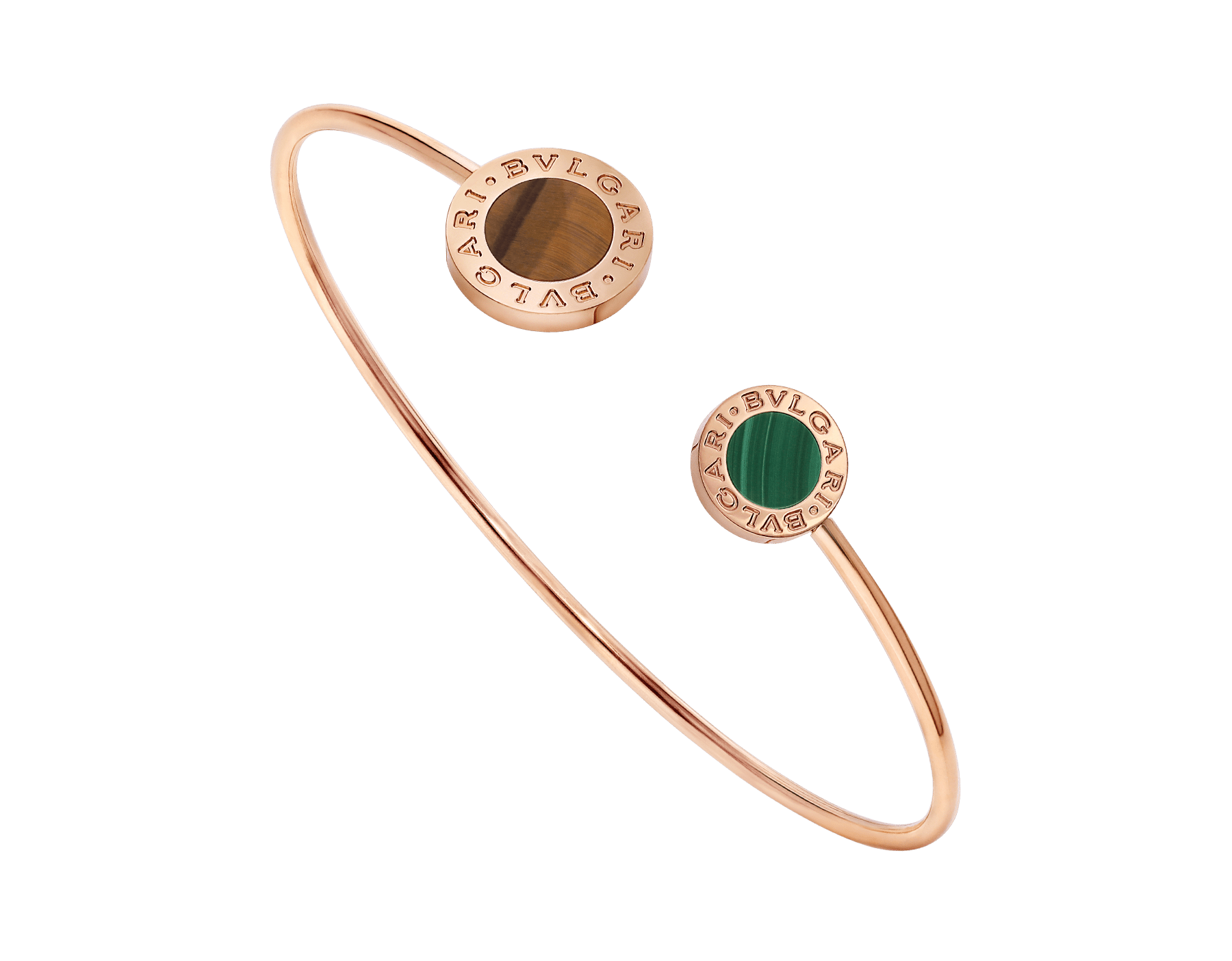 BVLGARI BVLGARI 18 kt rose gold bracelet set with tiger's eye an malachite elements BR858695 image 1