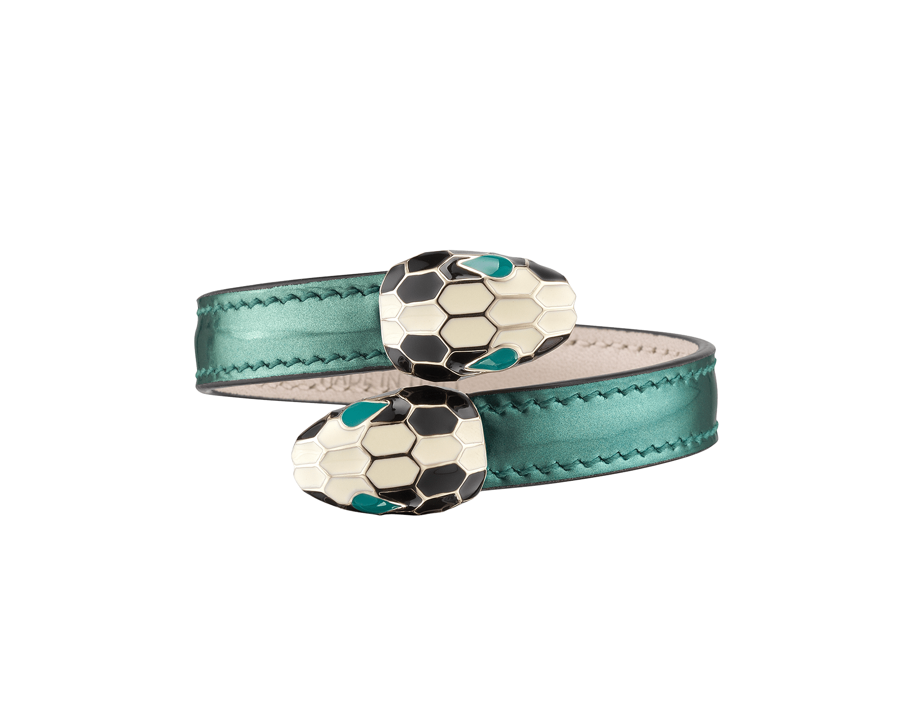 Serpenti Forever soft bangle bracelet in shiny silver brushed metallic calf leather, with brass light gold plated hardware. Iconic contraire snakehead décor in black and white enamel, with green enamel eyes. SerpSoftContr-BMCL-FE image 1