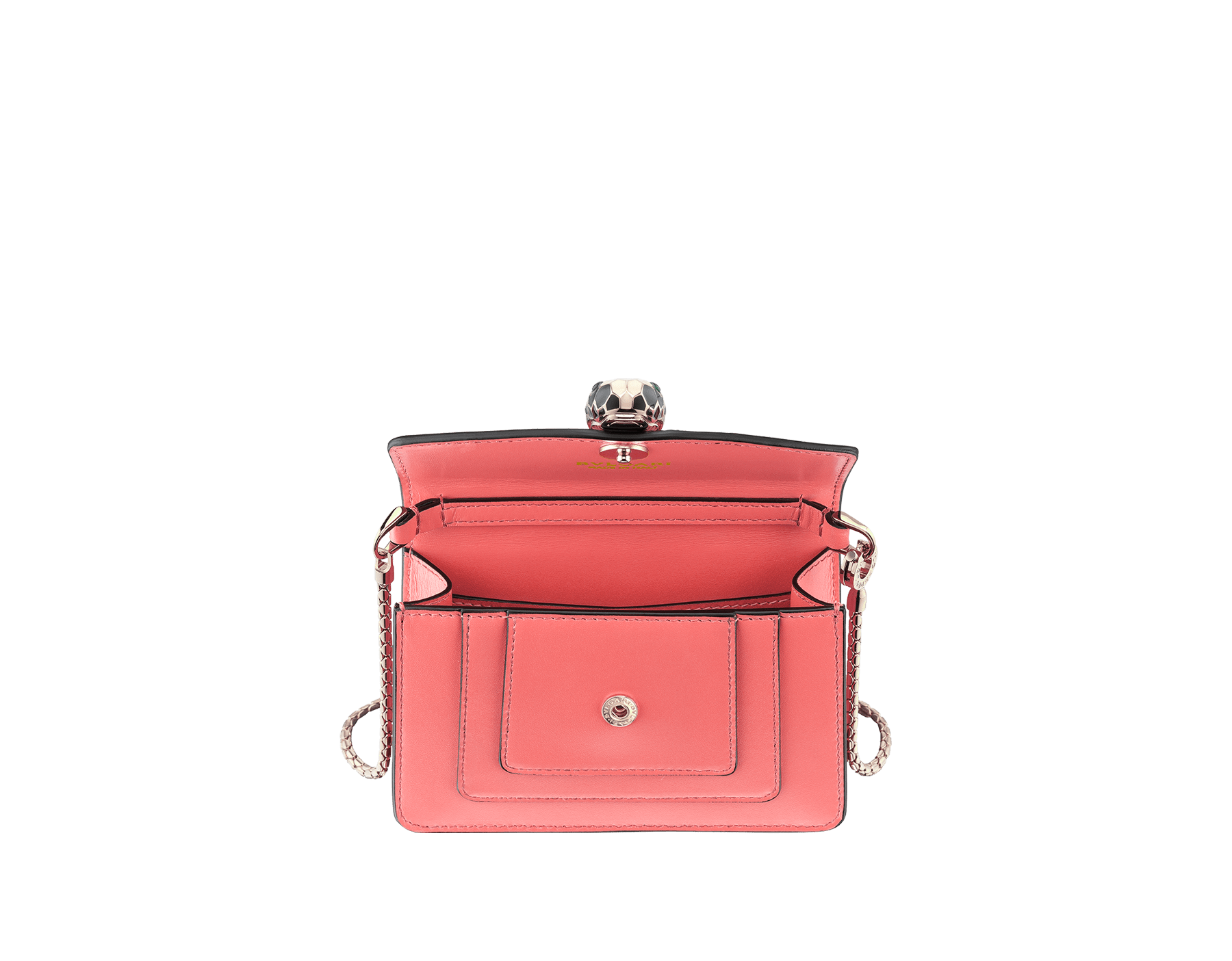 Bag charm Serpenti Forever miniature in silky coral and flamingo quartz nappa lining. Iconic brass light gold plated snakehead stud closure enameled in black and white agate and finished with green enamel eyes. 289256 image 2