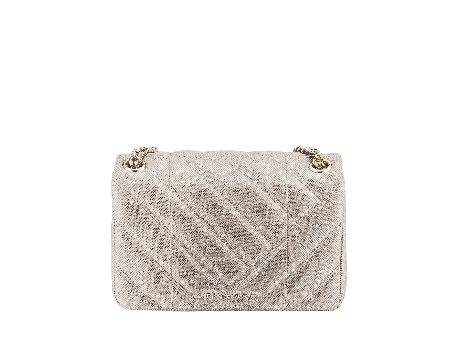 """Serpenti Cabochon"" shoulder bag in soft quilted Milky Opal beige metallic karung skin, with a graphic motif, and Milky Opal beige nappa leather internal lining. Light gold brass plated tempting snake head closure in matte black and glitter Milky Opal beige enamel, with black onyx eyes. 1094-MK image 3"