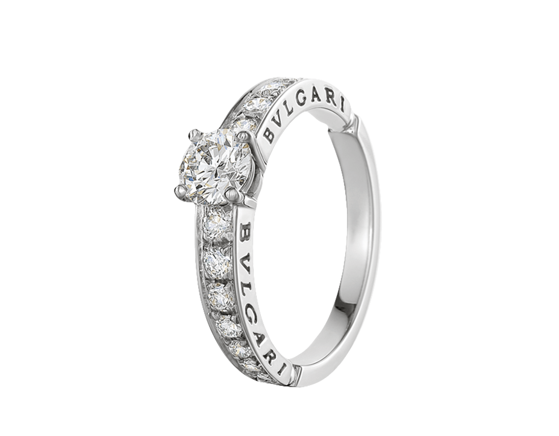 Dedicata a Venezia: 1503 solitaire ring in platinum with a round brilliant-cut diamond, pavé diamonds and engraved logo. Named after the year in which the first engagement ring was offered in Venice. 343993 image 1