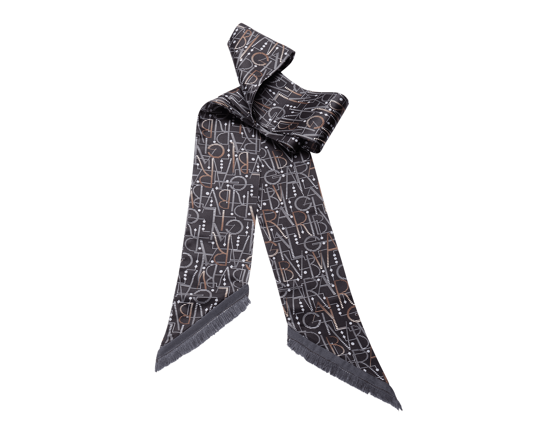 """Grey """"Logo Script"""" shelley in fine printed silk twill. LOGOSCRIPTSHEL image 1"""