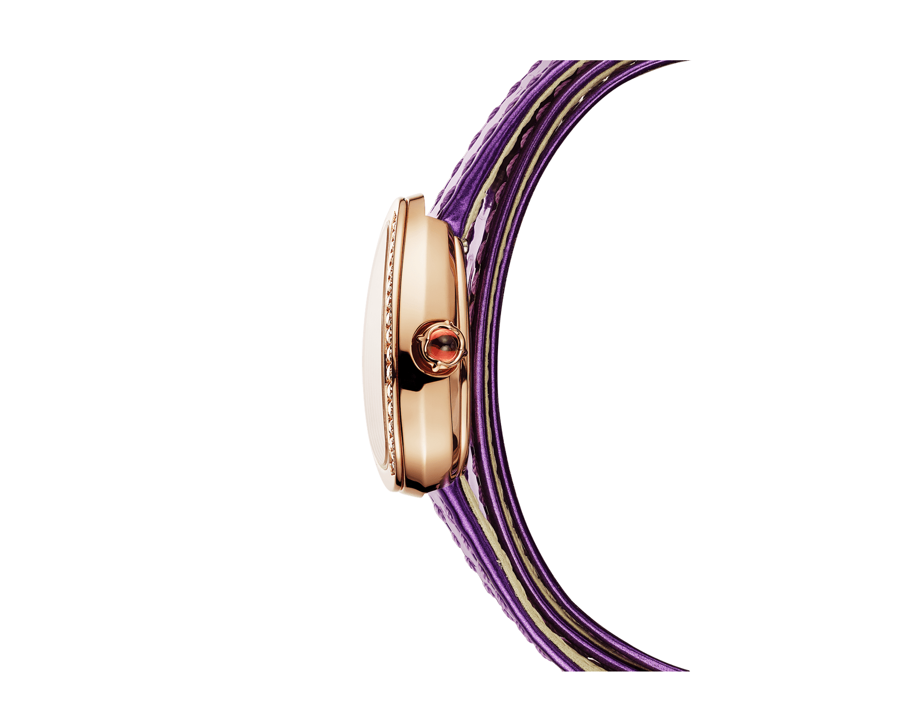 Serpenti watch with 18 kt rose gold case set with diamonds, black lacquered dial and interchangeable qadruple spiral bracelet in wisteria jade brushed metallic calf leather. 102969 image 2