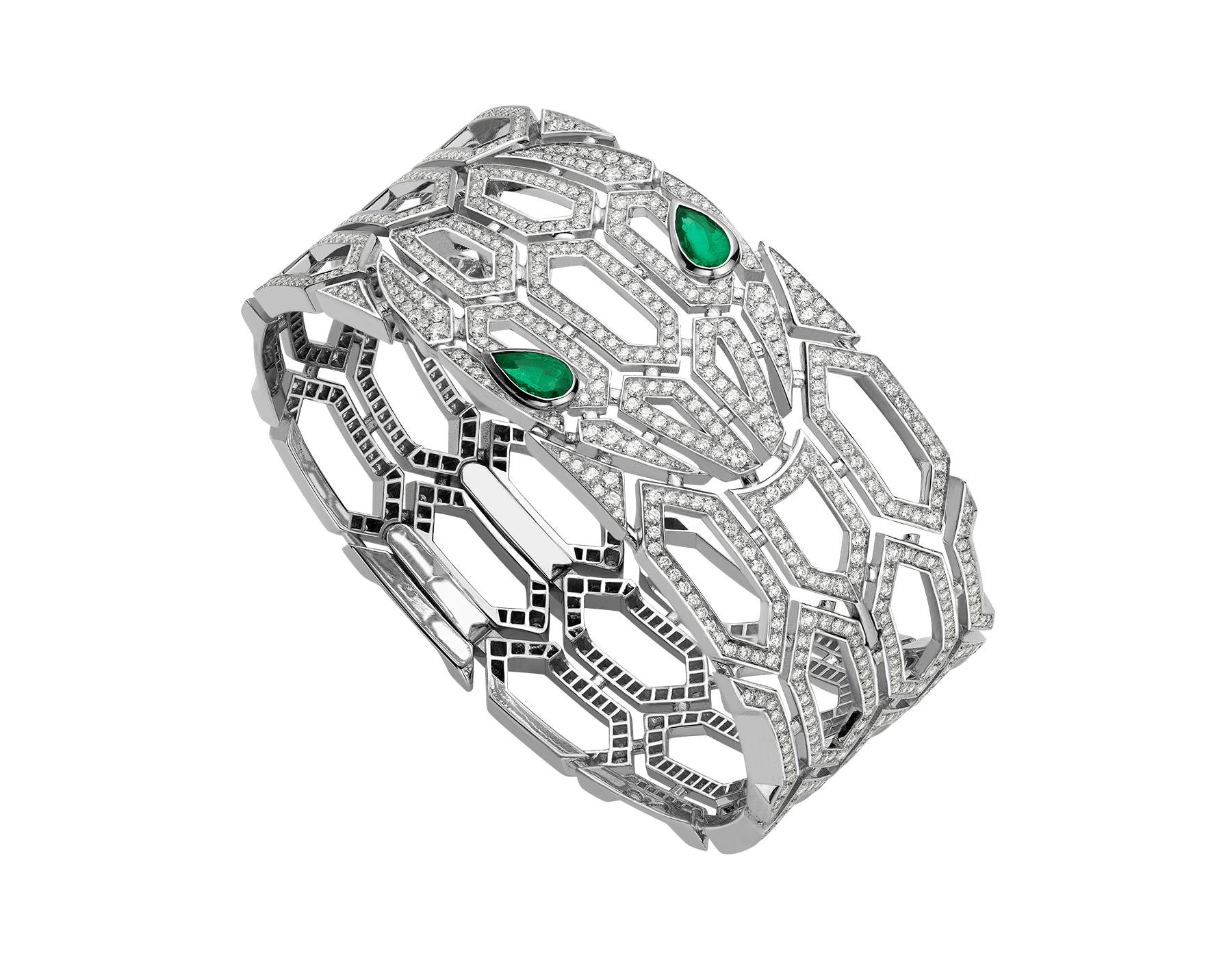 Serpenti bangle bracelet in 18 kt white gold, set with emerald eyes and full pavé diamonds. BR857667 image 1