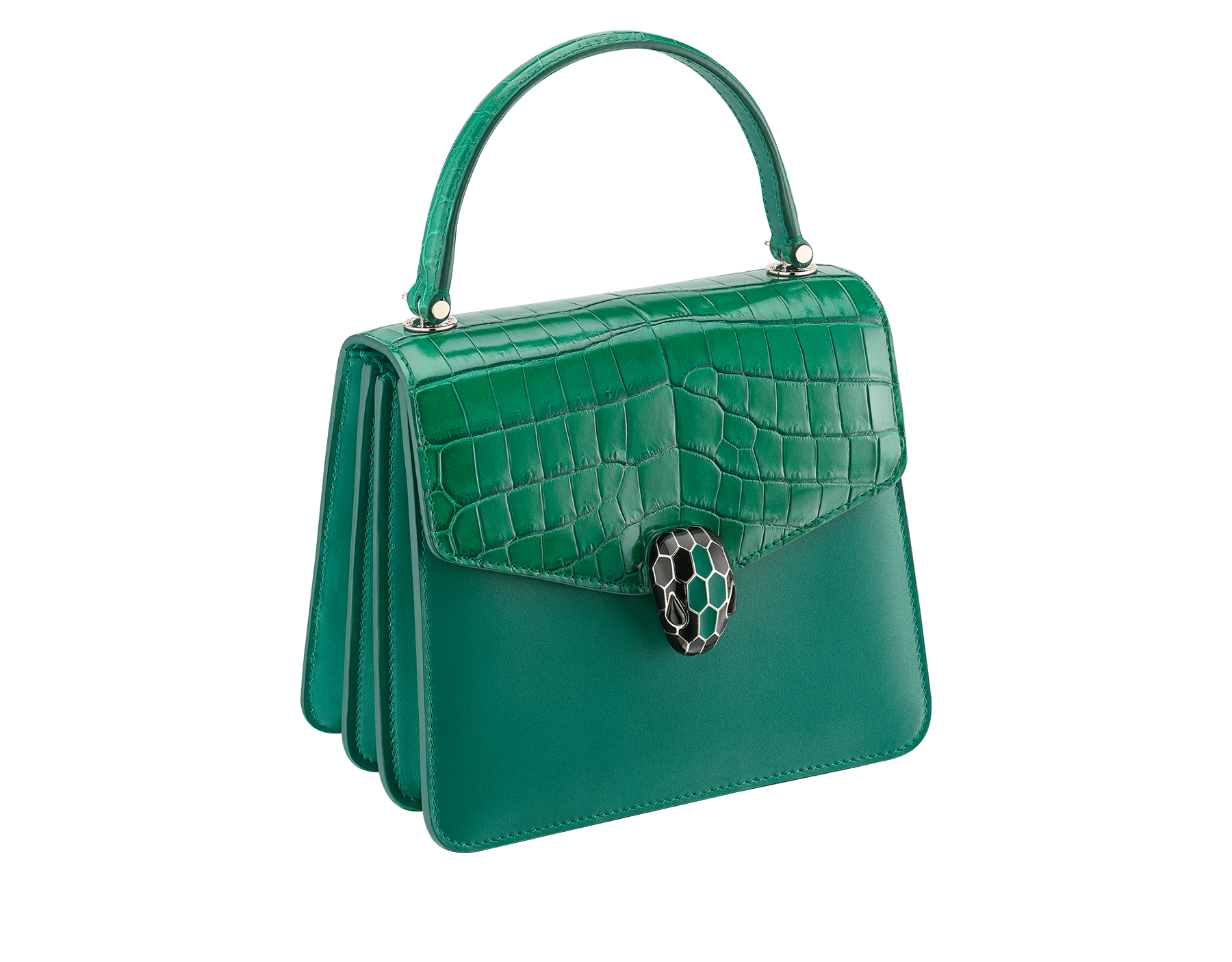 """Serpenti Forever "" crossbody bag in emerald green shiny croco flap and emerald green calf leather body and sides. Iconic snake head closure in light gold plated brass enriched with black and emerald green enamel and black onyx eyes. 288977 image 2"