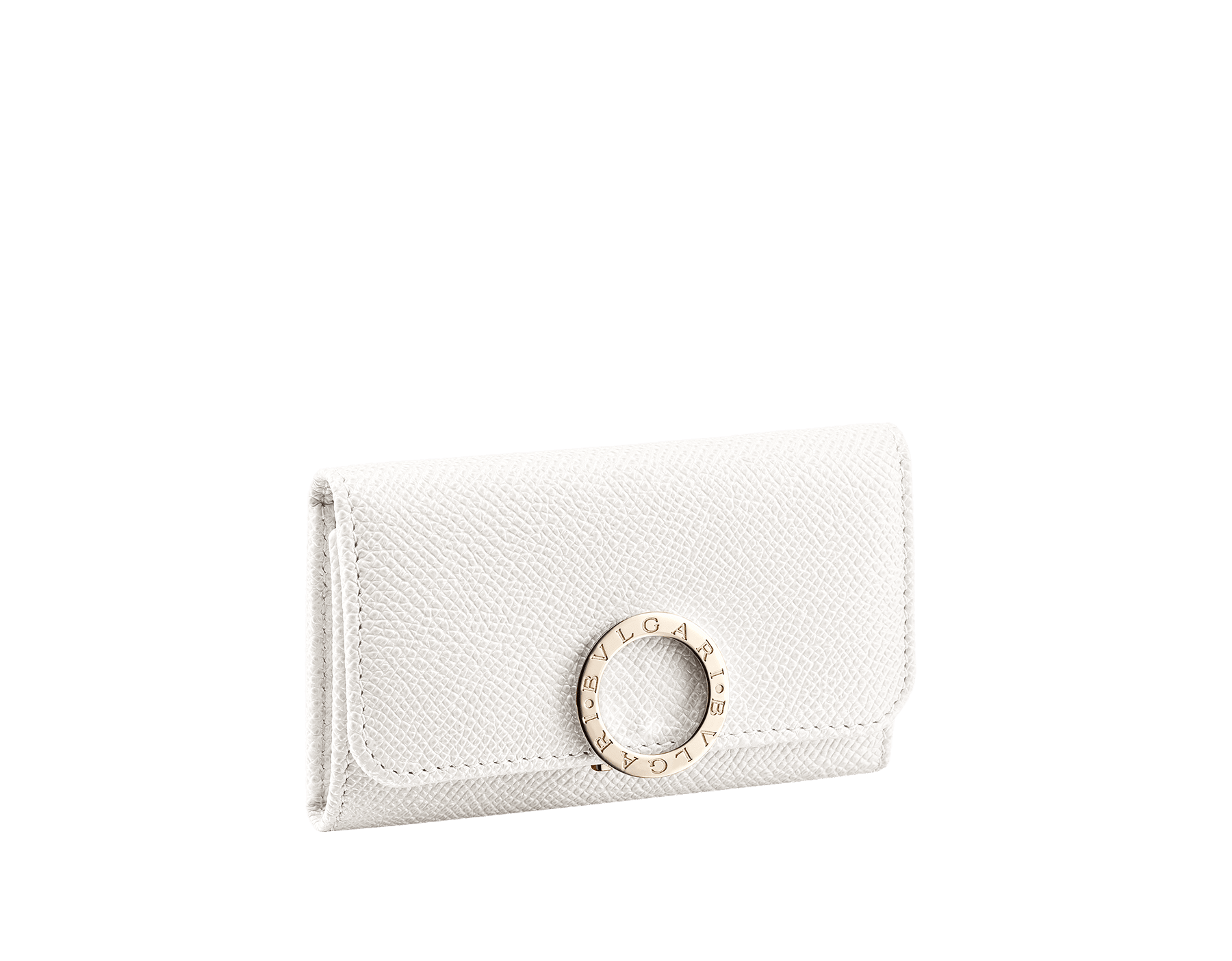 """""""BVLGARI BVLGARI"""" small key holder in mint bright grain calf leather and taffy quartz soft nappa leather. Iconic logo clip closure in light gold plated brass. 579-KEYHOLDER-Sa image 1"""