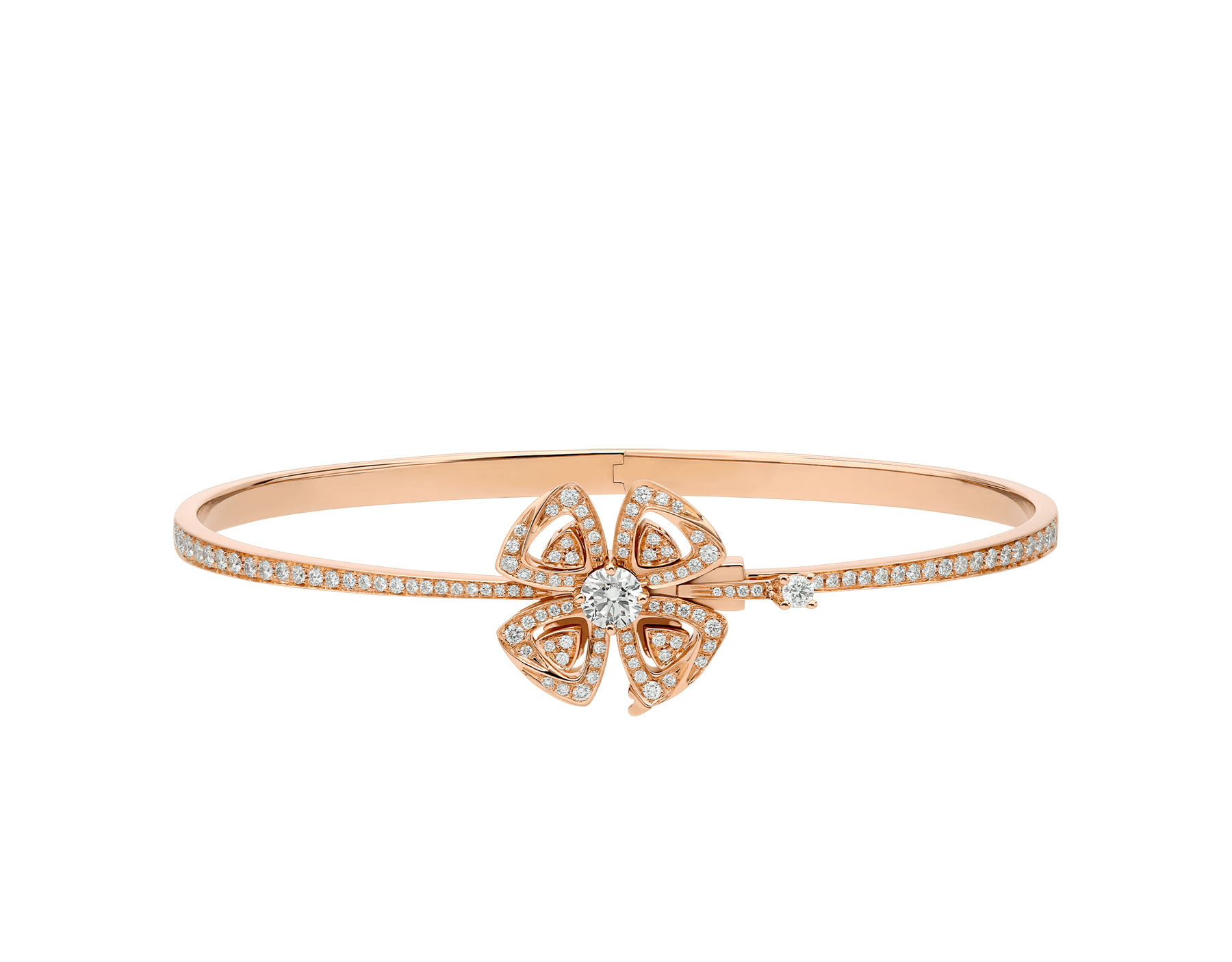 Fiorever 18 kt rose gold bracelet set with a central diamond (0.30 ct) and pavé diamonds (0.63 ct) BR858707 image 2