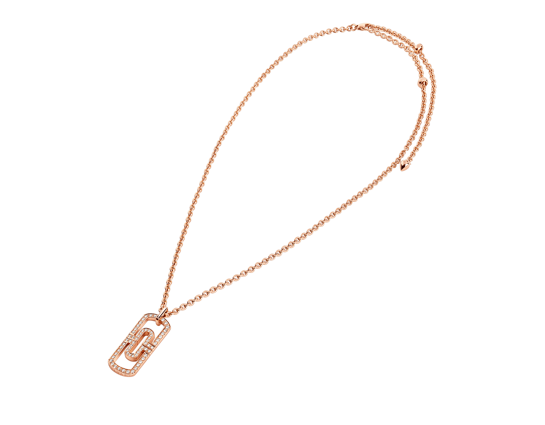 Parentesi necklace with 18 kt rose gold chain and 18 kt rose gold pendant set with full pavé diamonds 349184 image 2