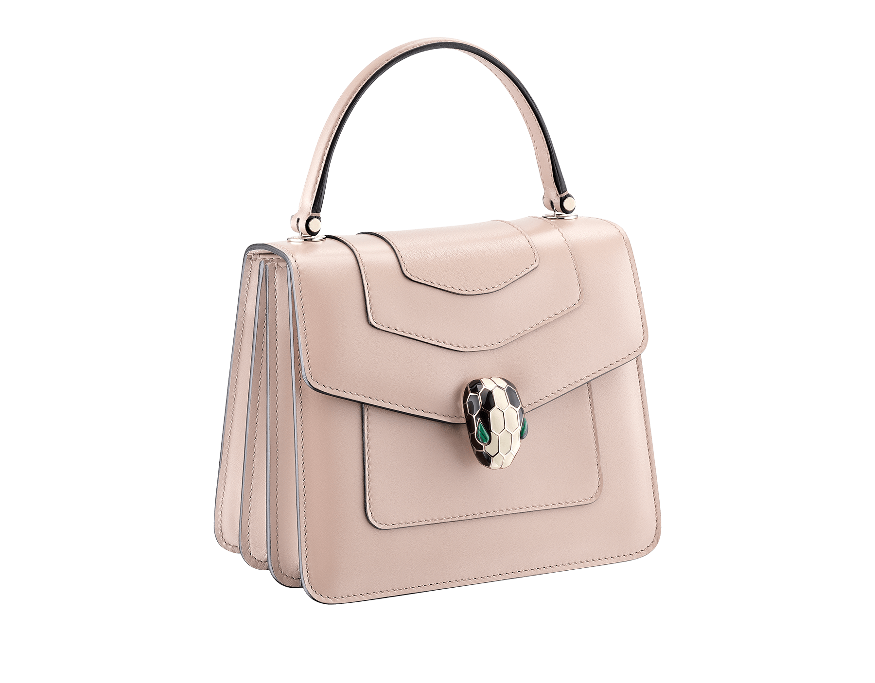 """Serpenti Forever"" crossbody bag in crystal rose calf leather. Iconic snakehead closure in light gold plated brass enriched with black and white enamel and green malachite eyes 287030 image 2"