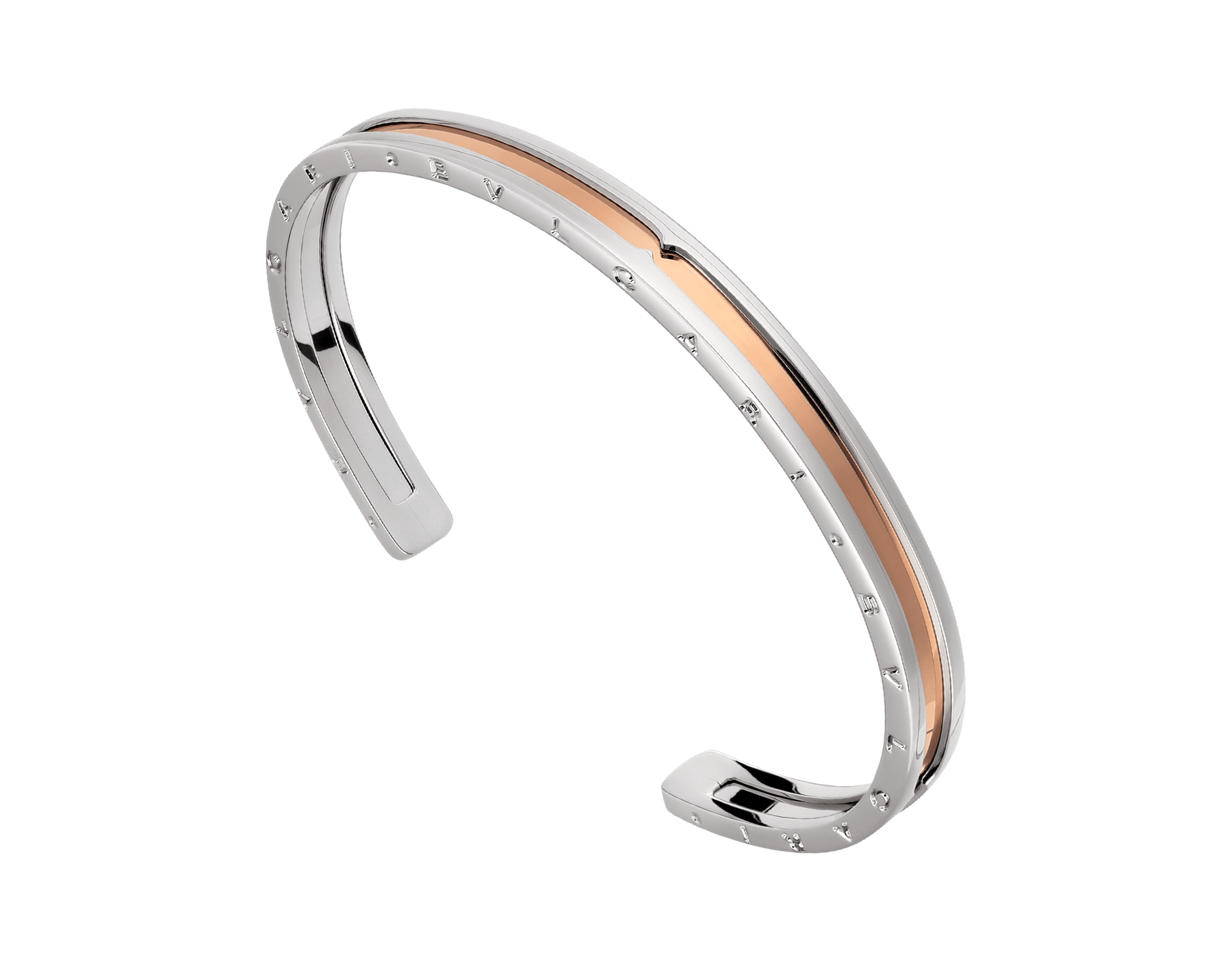 B.zero1 cuff bracelet in stainless steel and 18kt rose gold. BR855436 image 1