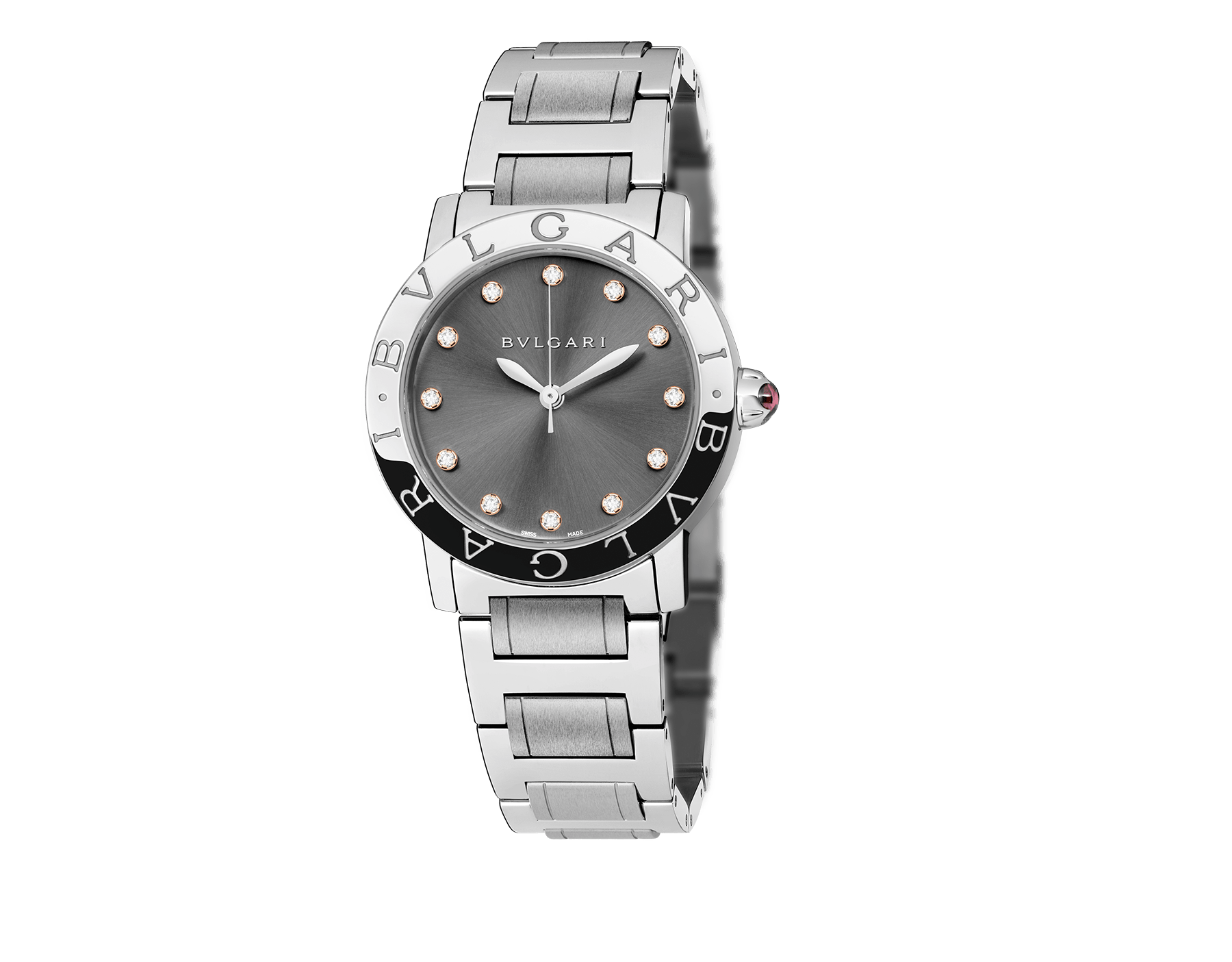 BVLGARI BVLGARI watch in stainless steel case and bracelet, with anthracite satiné soleil lacquered dial and diamond indexes 102567 image 1