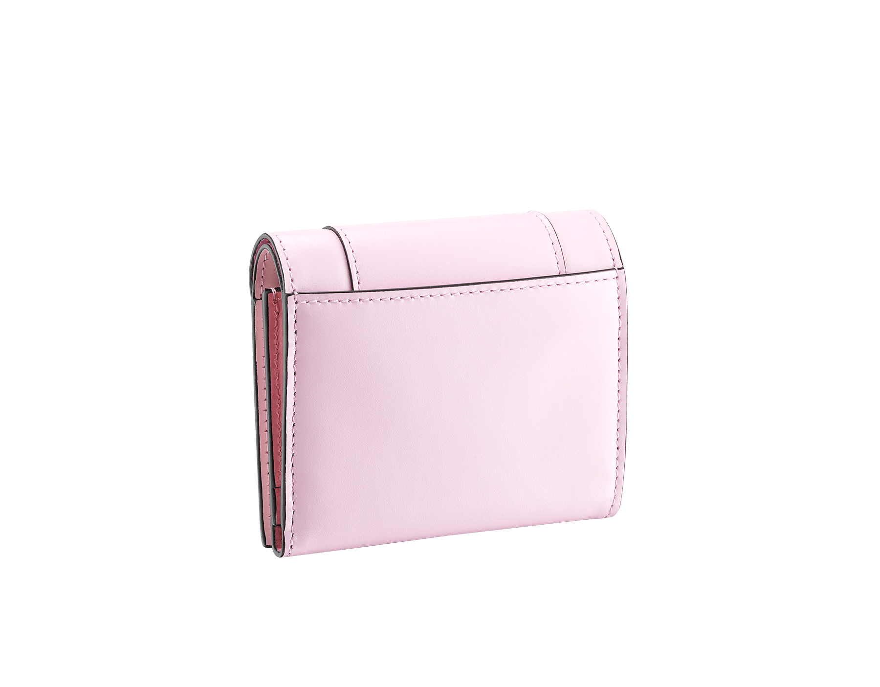 Serpenti Forever super compact wallet in rosa di francia and flamingo quartz calf leather. Iconic snakehead press stud closure in black and white enamel, with green malachite enamel eyes. 289061 image 3