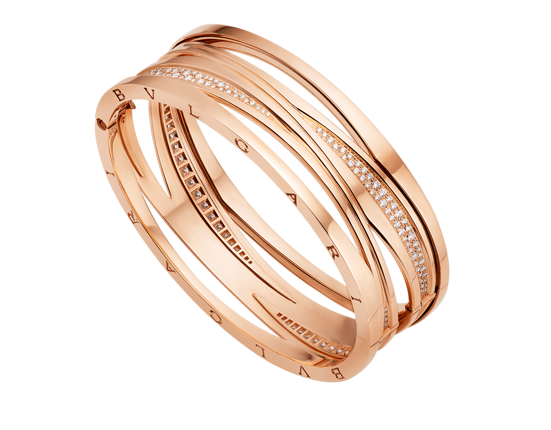 B.zero1 Design Legend bracelet in 18 kt rose gold, set with pavé diamonds on the spiral. BR858728 image 1