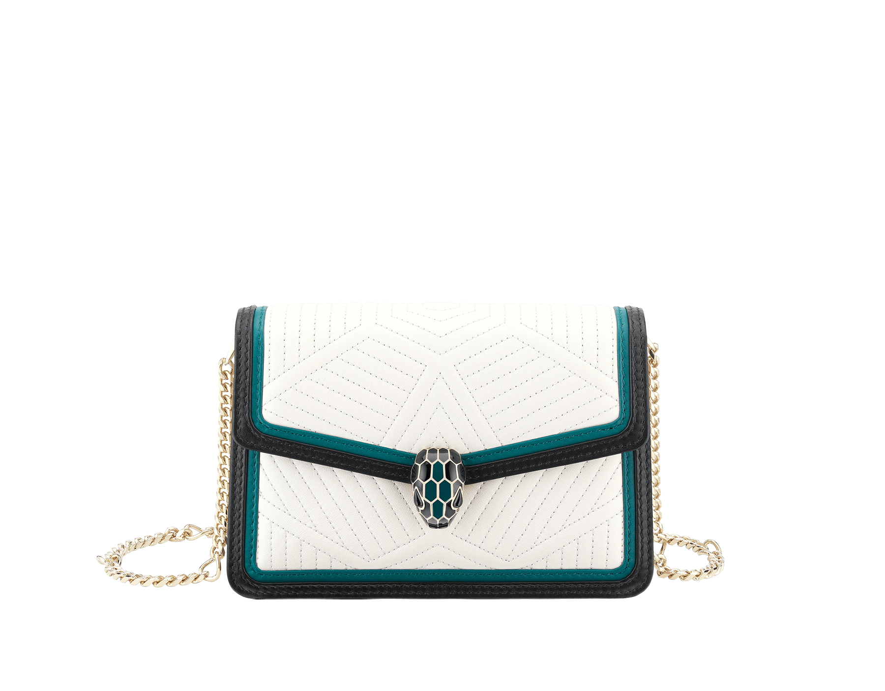 """Serpenti Diamond Blast"" crossbody micro bag with white agate quilted nappa leather body and deep jade and black calf leather frames. Iconic snakehead closure in light gold-plated brass enriched with deep jade and black enamel and black onyx eyes. 288106 image 1"