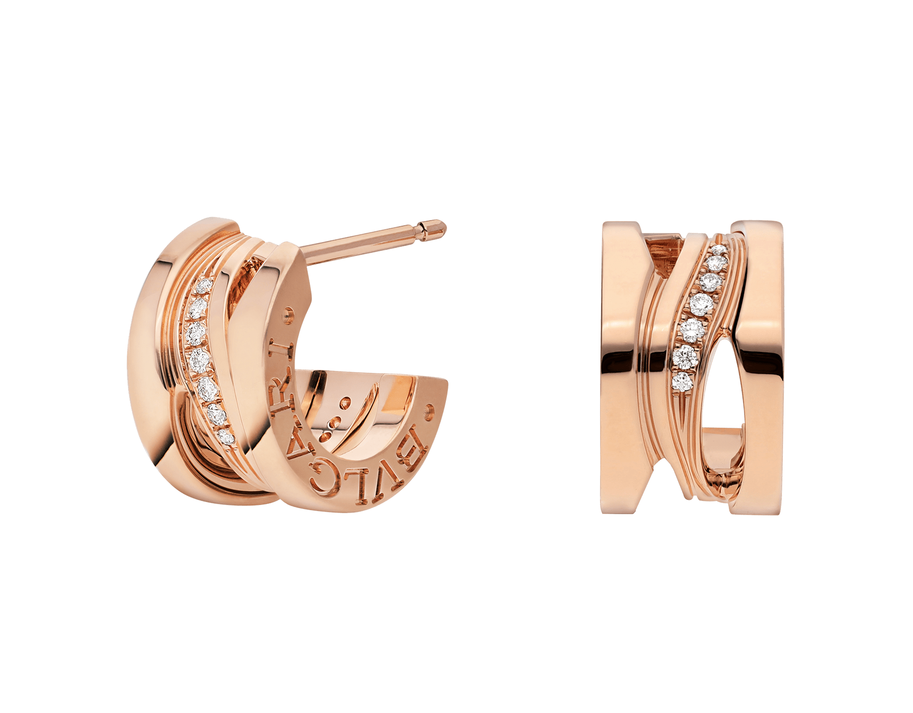 B.zero1 Design Legend 18 kt rose gold earrings set with pavé diamonds on the spiral. 356131 image 1