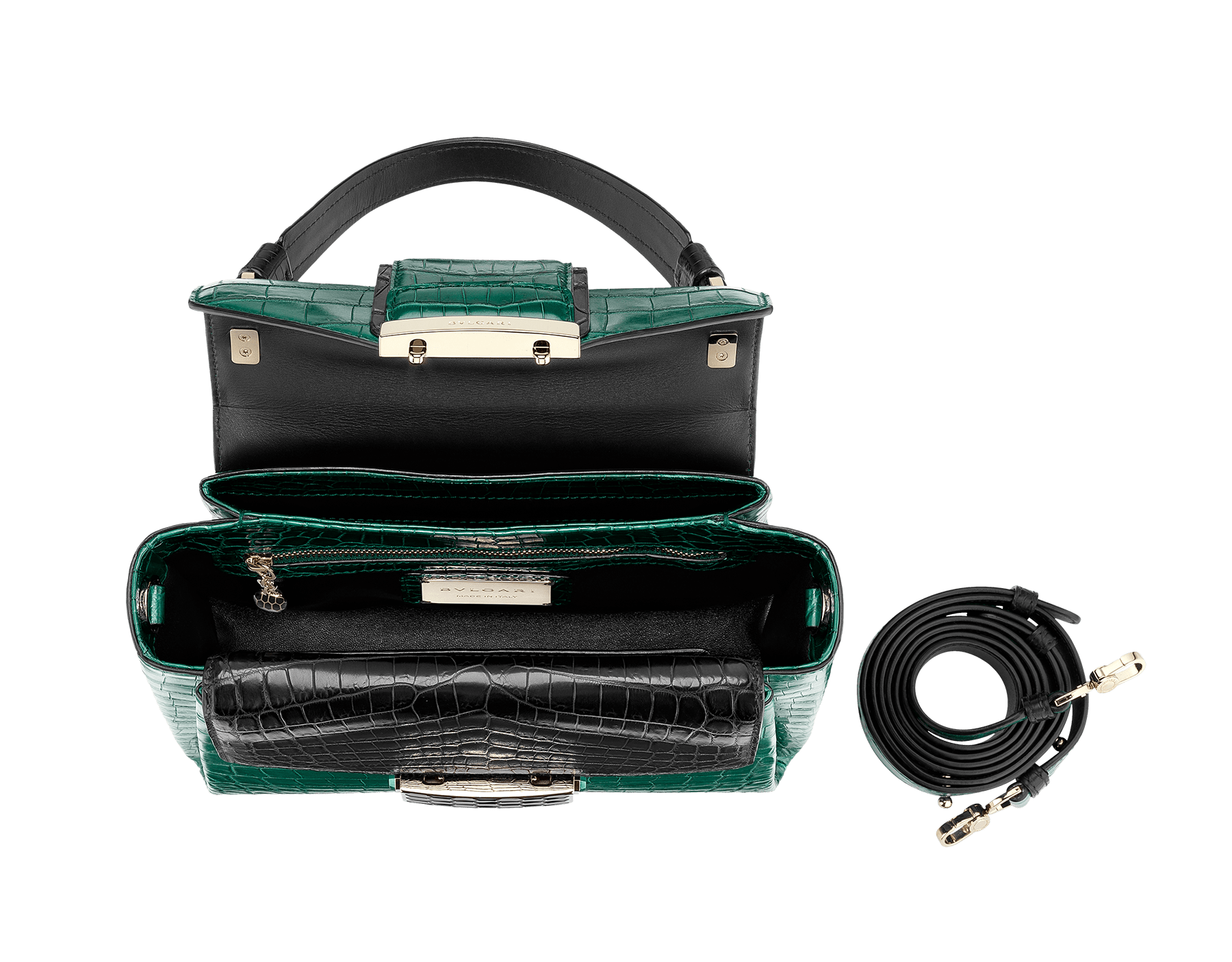Top handle bag Serpenti Viper in forest emerald and black matt crocodile skin. Brass light gold plated hardware and snap closure in black shiny enamel with iconic Scaglie design. 284488 image 2