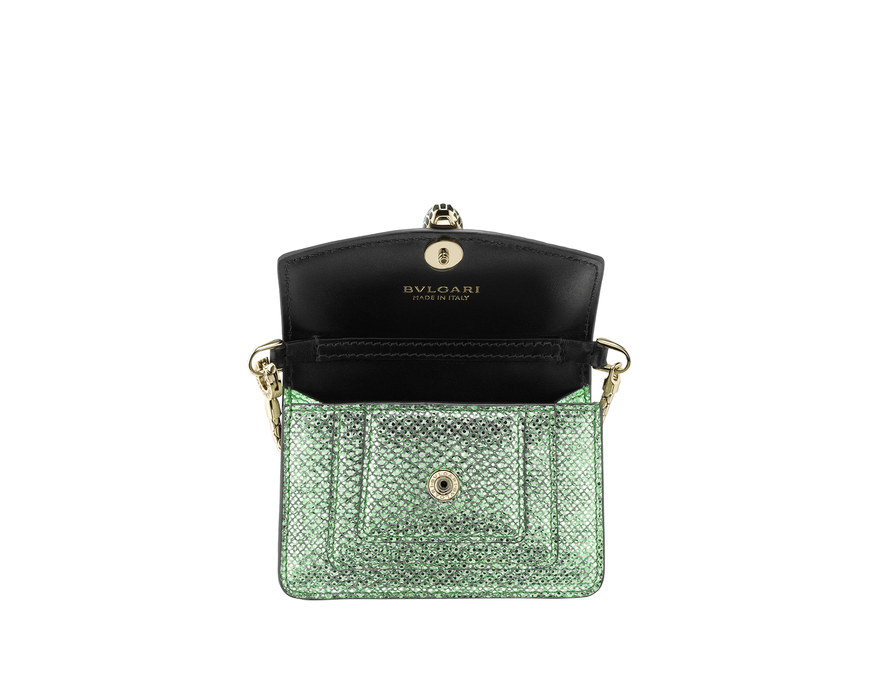 """Serpenti Forever"" miniature bag charm in mint metallic karung skin and black calf leather. Iconic brass light gold plated snakehead stud closure enamelled in black and white and finished with black enamel eyes. SERP-BAG-CHARM-MK image 2"