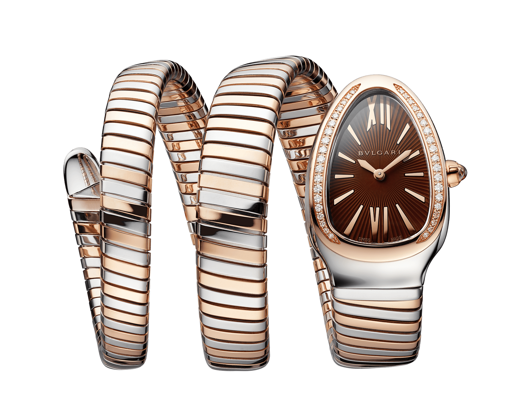 Serpenti Tubogas double spiral watch with stainless steel case, 18 kt rose gold bezel set with brilliant-cut diamonds, brown dial with guilloché soleil treatment, stainless steel and 18 kt rose gold bracelet 103070 image 1