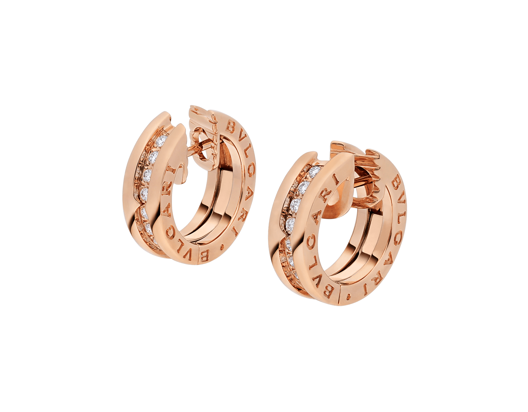 B.zero1 small hoop earrings in 18 kt rose gold set with pavé diamonds on the spiral. 348036 image 2