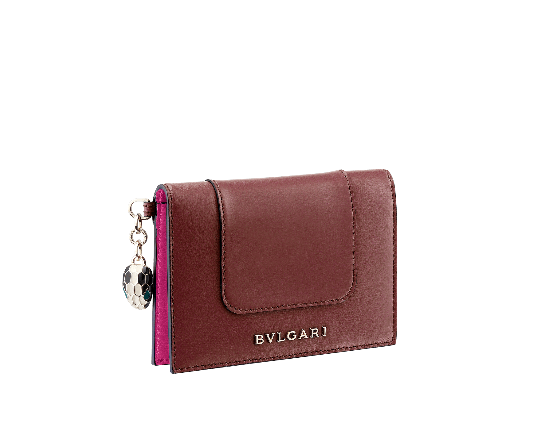 Serpenti Forever folded credit card holder in Roman garnet and pink spinel calf leather. Snakehead charm with black and white enamel, and green malachite enamel eyes. SEA-CC-HOLDER-FOLD-CLb image 1
