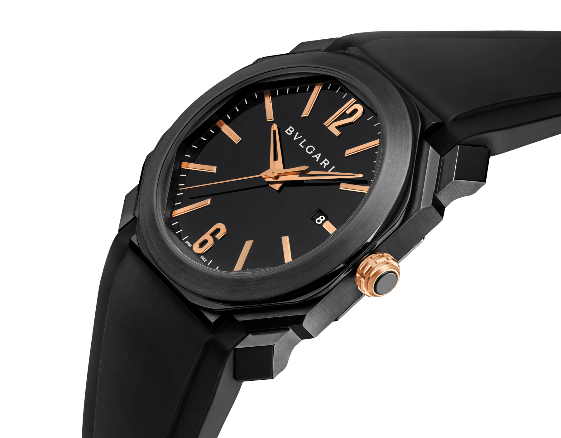 Octo watch with mechanical manufacture movement, automatic winding and date, stainless steel case treated with black Diamond Like Carbon, black lacquered dial and black rubber bracelet. 102581 image 2
