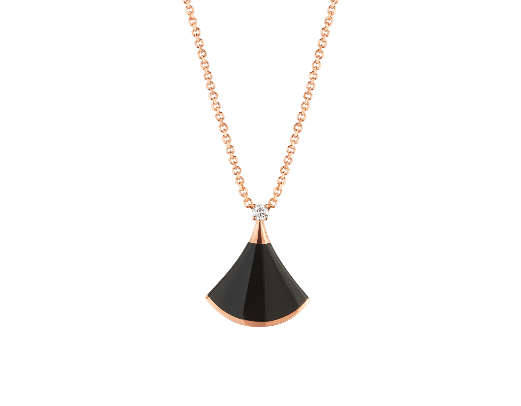DIVAS' DREAM necklace in 18 kt rose gold with 18 kt rose gold pendant set with onyx and one diamond. 350582 image 1