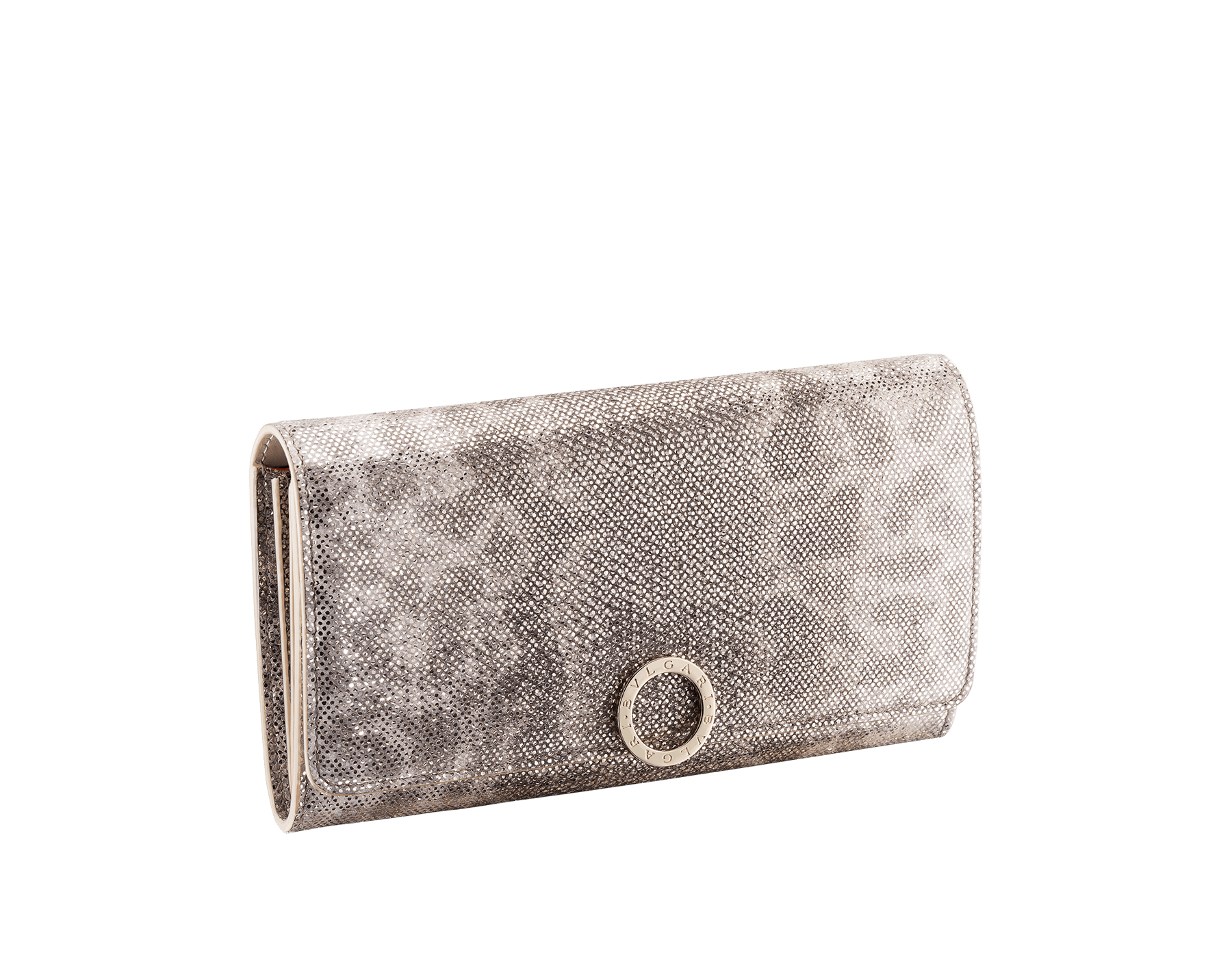 """BVLGARI BVLGARI"" large wallet in metallic Midnight Sapphire blue karung skin and black calfskin. Iconic logo clip closure in light gold-plated brass. 579-WLT-POCHE-16CC-MK image 1"