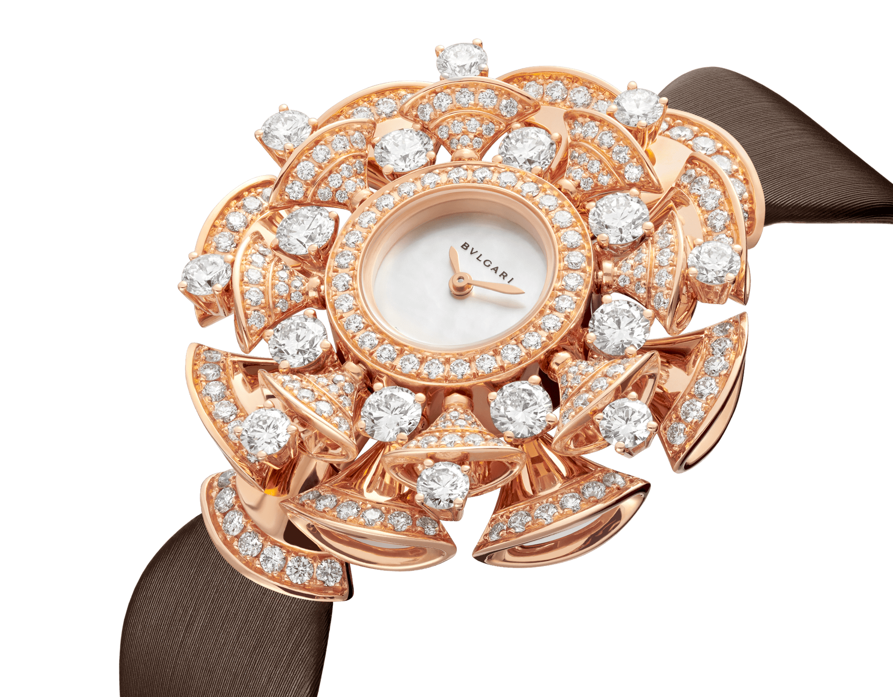 DVAS' DREAM watch with 18 kt rose gold case set with brilliant-cut diamonds, white mother-of-pearl dial and brown satin bracelet 102546 image 2