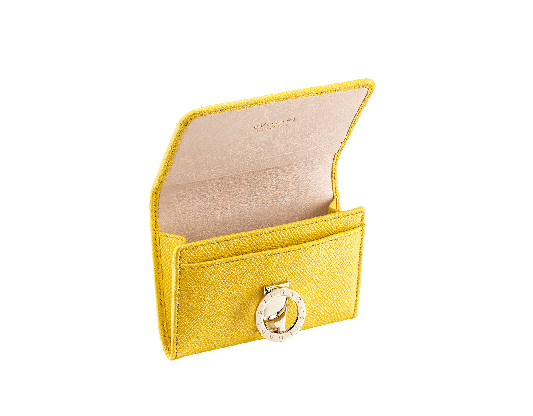 """BVLGARI BVLGARI"" business card holder in mint bright grain calf leather and taffy quartz nappa leather. Iconic logo clip closure in light gold plated brass. 579-BC-HOLDER-BGCLc image 2"