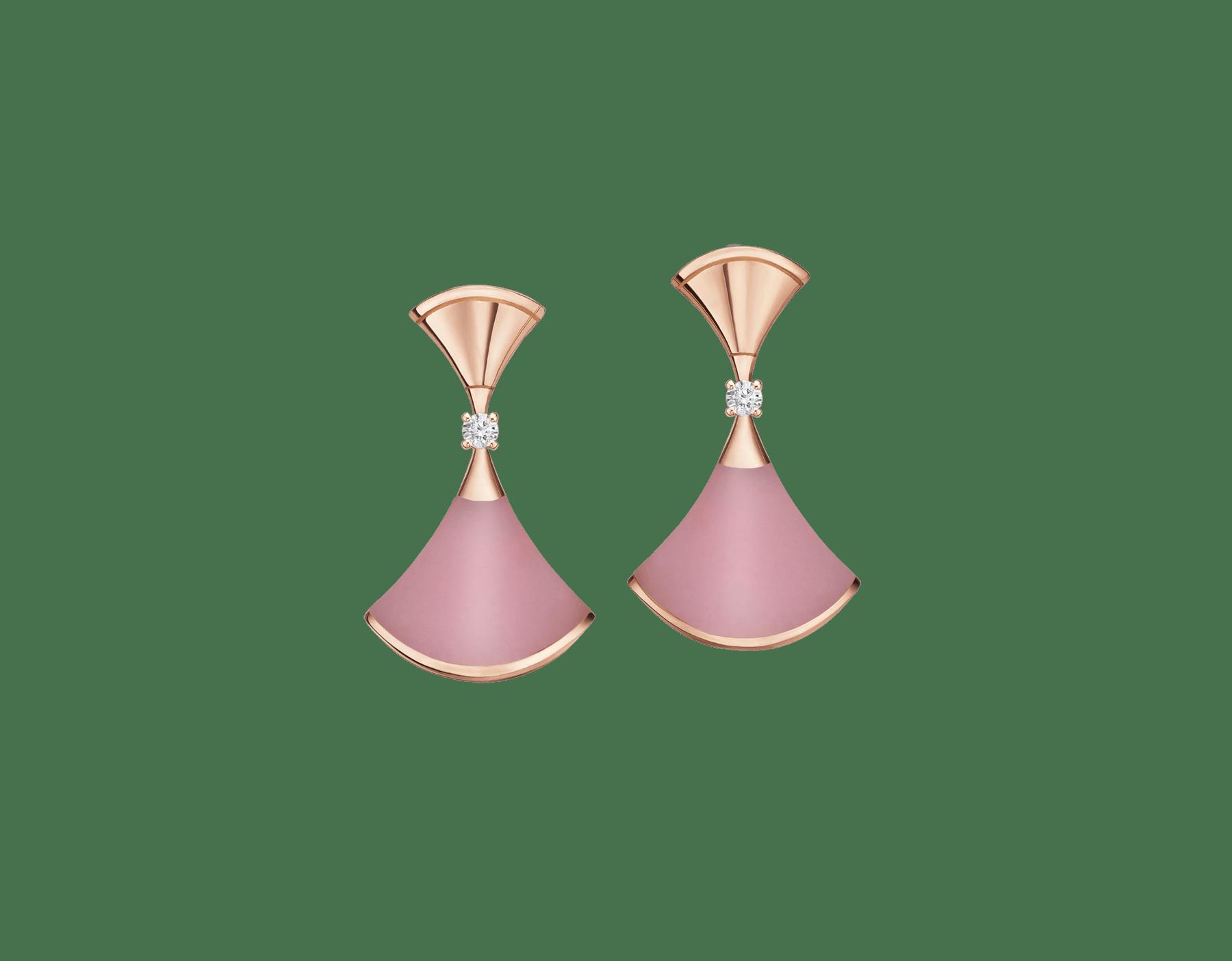日本先行発売のディーヴァ ドリーム イヤリング。ピンクオパールのインサート、パヴェダイヤモンドをあしらった18Kピンクゴールド製。 357862 image 2