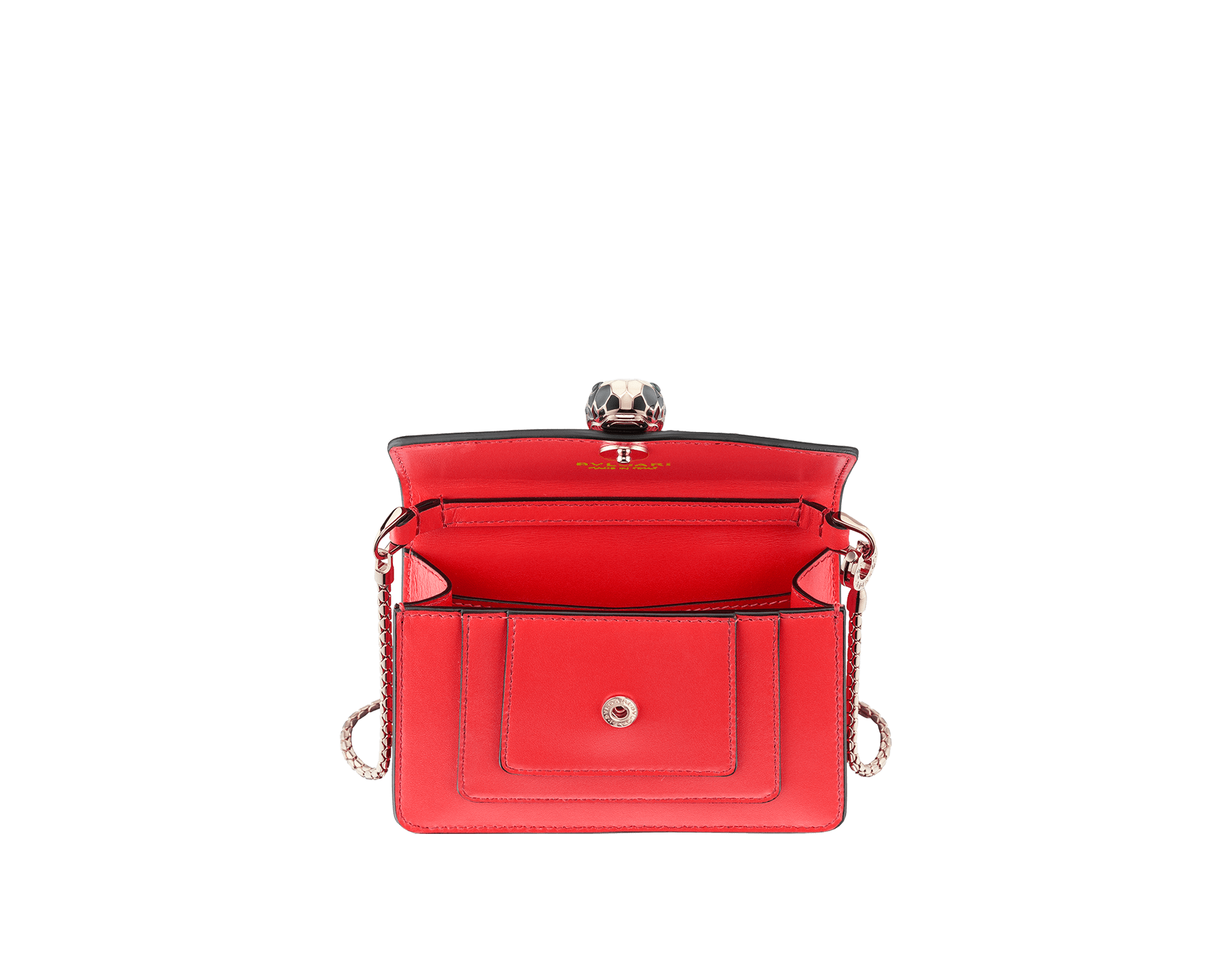 Serpenti Forever miniature bag charm in sea star coral calf leather with berry tourmaline calf leather lining. Iconic light gold plated brass snakehead stud closure enameled in black and white, and finished with green enamel eyes. 288370 image 2