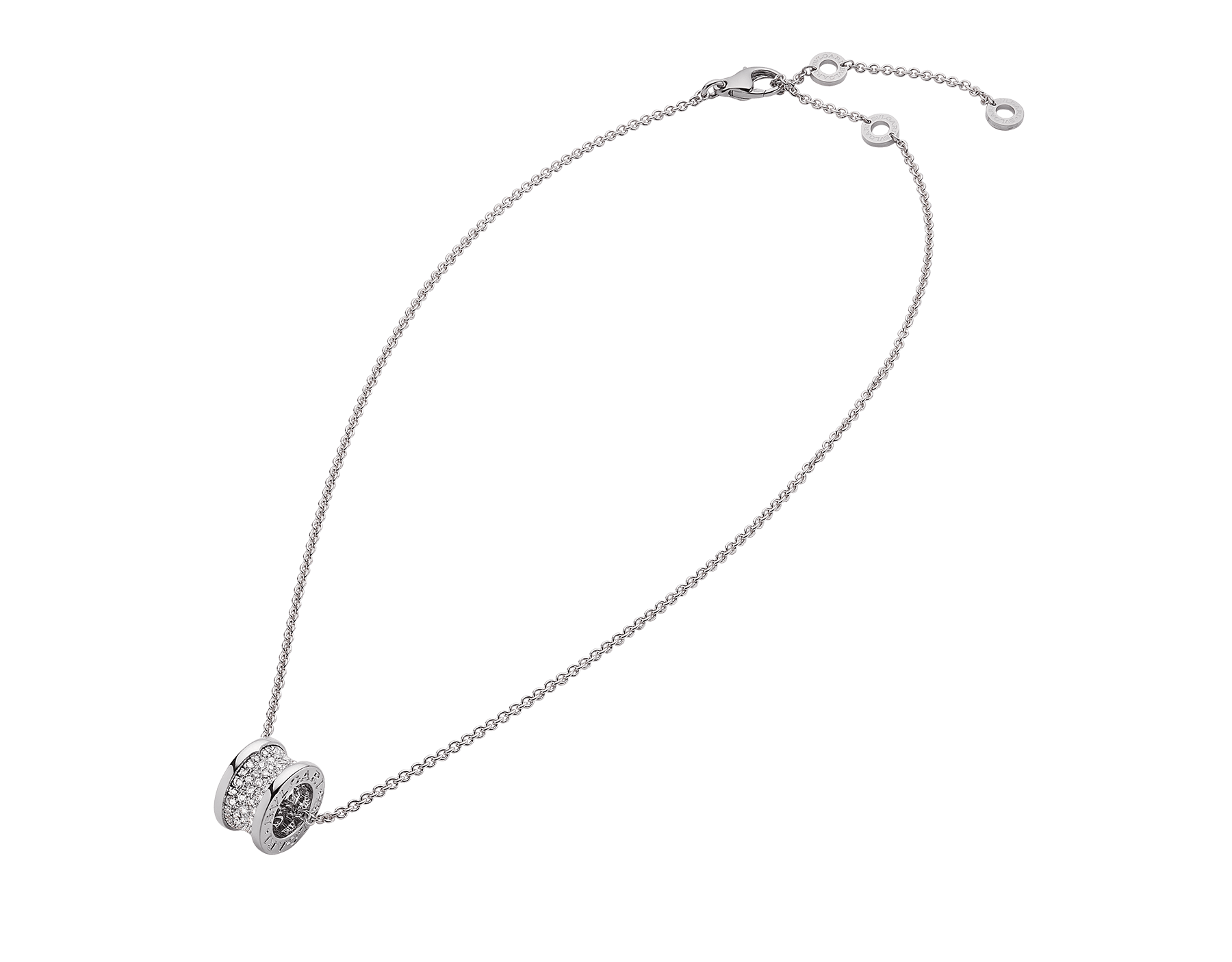 B.zero1 necklace with 18 kt white gold chain and pendant in 18 kt white gold set with pavé diamonds on the spiral. 346167 image 3