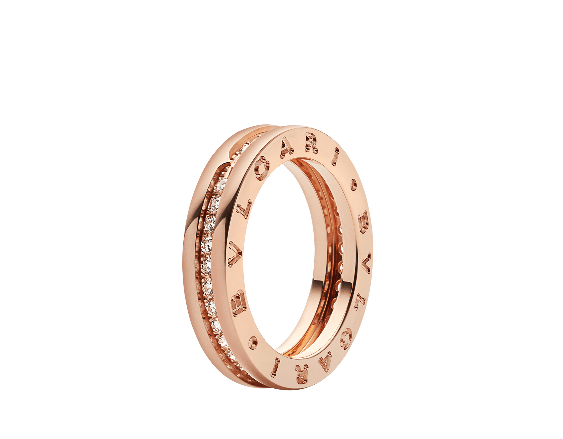 B.zero1 one-band ring in 18 kt rose gold set with pavé diamonds on the spiral. B-zero1-1-bands-AN854461 image 1