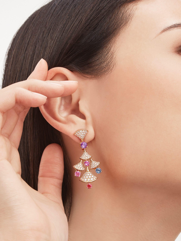 Boucles d'oreilles DIVAS' DREAM en or rose 18K serties de spinelles taille brillant (3,81ct) et pavé diamants (2,22ct) 357943 image 1