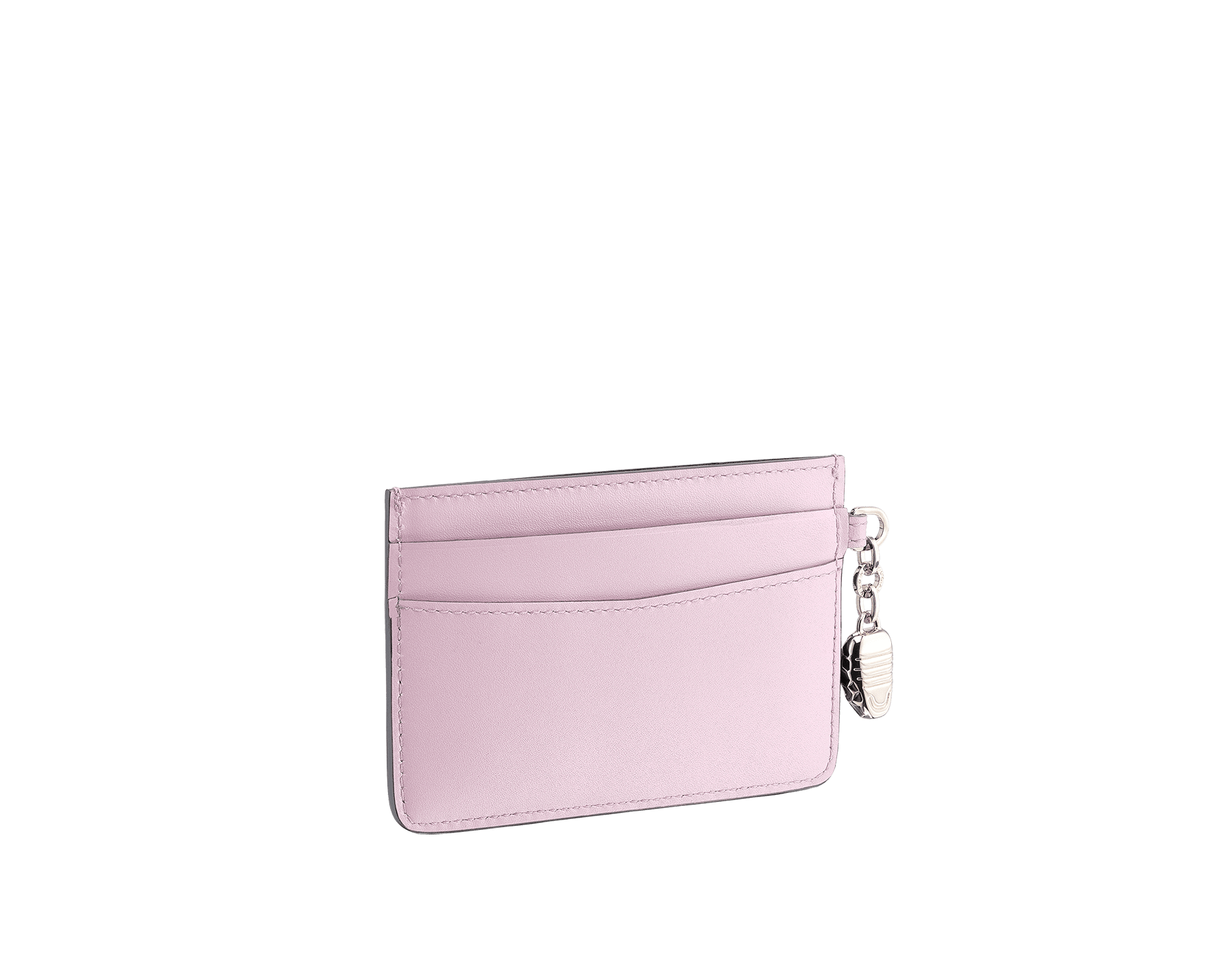 Serpenti Forever credit card holder in sea star coral and pink spinel calf leather. Iconic snakehead charm in black and white enamel, with green malachite enamel eyes. SEA-CC-HOLDER-CLb image 2
