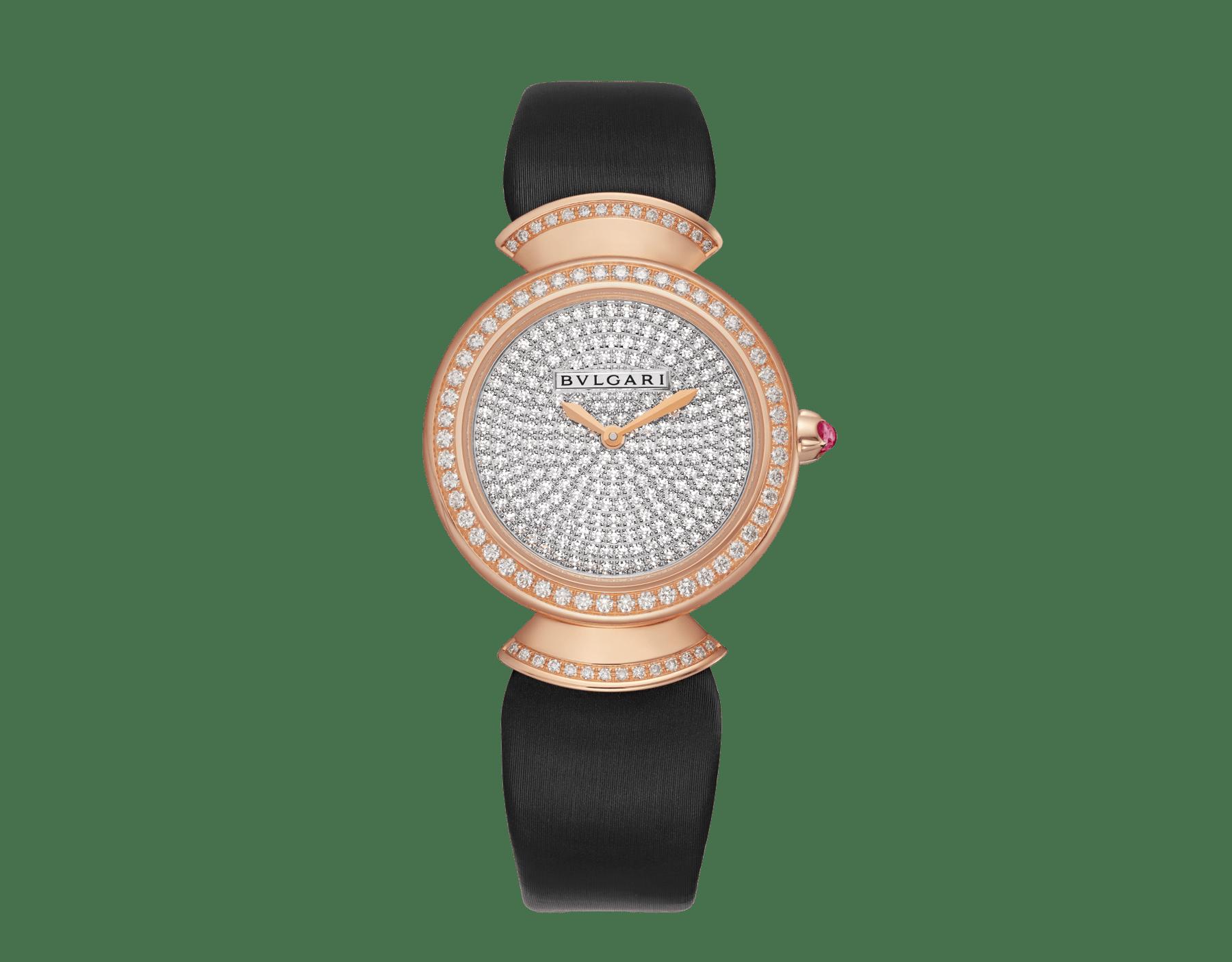 Montre DIVAS' DREAM avec boîtier en or rose 18K serti de diamants taille brillant, cadran pavé diamants et bracelet en satin noir 102432 image 1