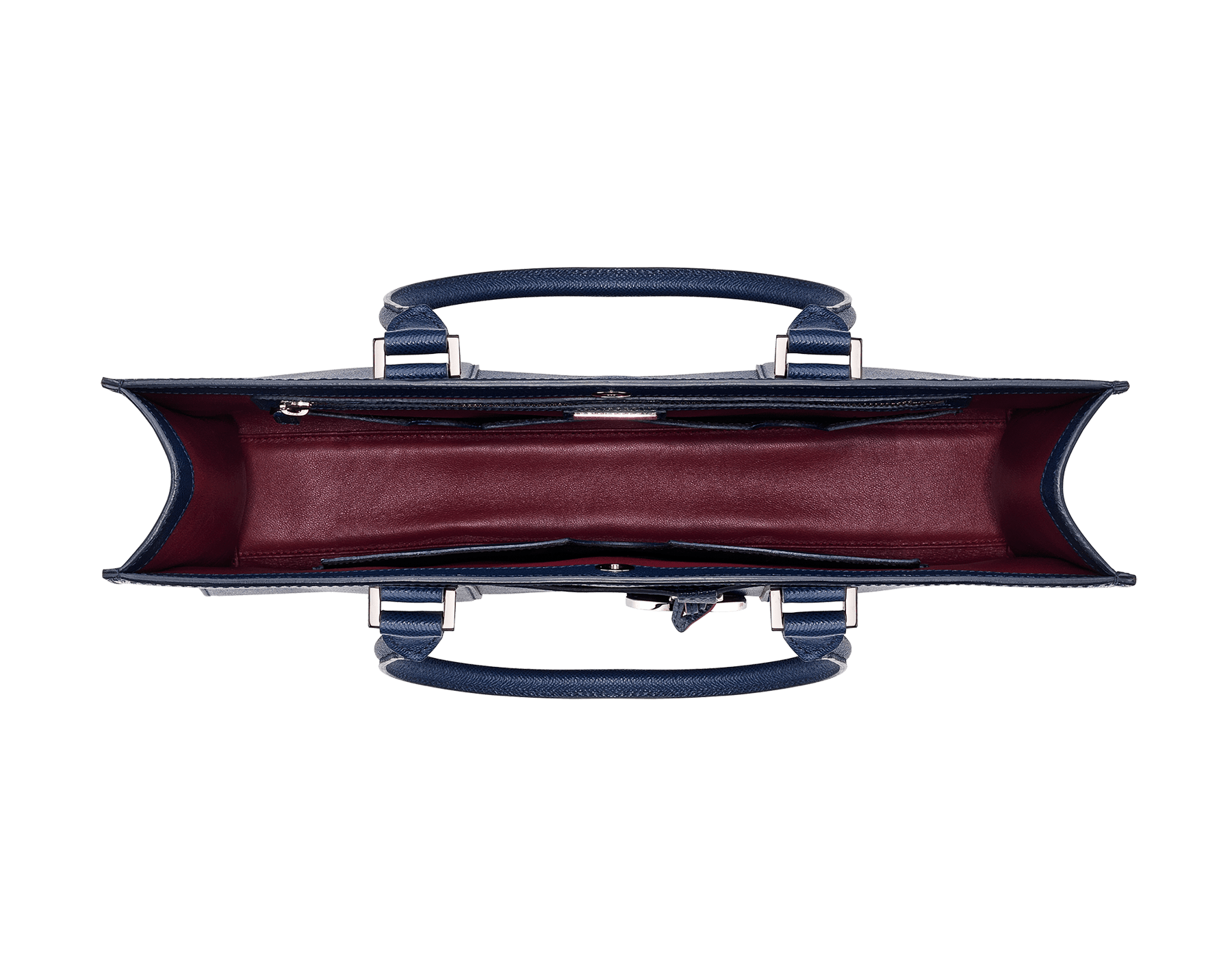 Tote bag in denim sapphire grain calf leather with brass palladium plated hardware. One zipped pocket, three open pockets and Bulgari logo metal tag inside. 39391 image 4