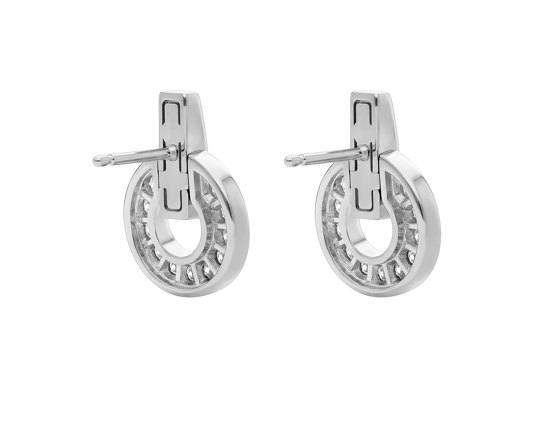 BVLGARI BVLGARI系列白色18K金镂空耳环,饰以全密镶钻石 357940 image 3
