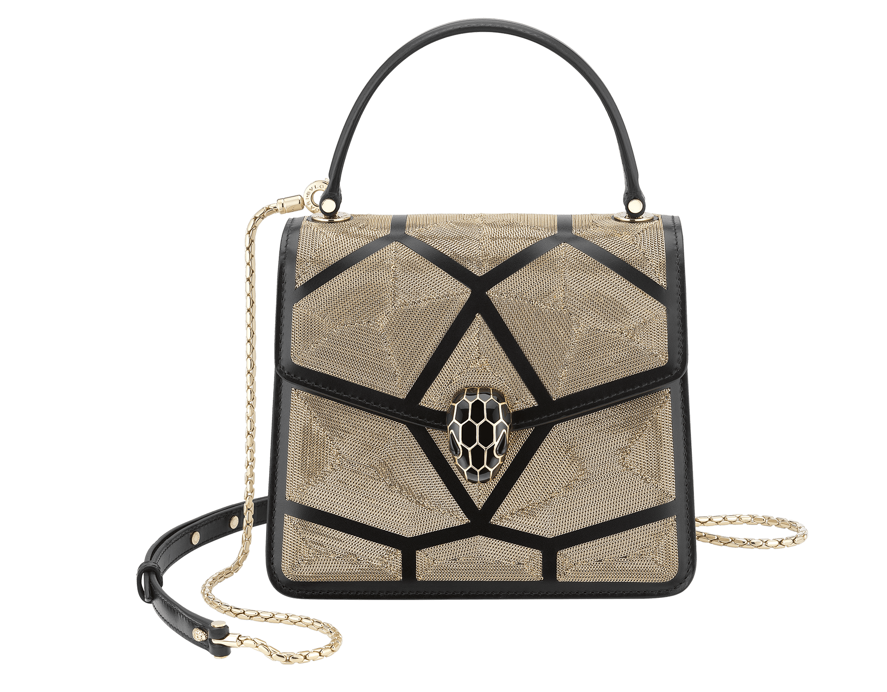 """Serpenti Forever"" crossbody bag in black calf leather and Million Chain motif body and black calf leather sides. Iconic snake head closure in light gold-plated brass enriched with black enamel and black onyx eyes. 752-CP image 1"