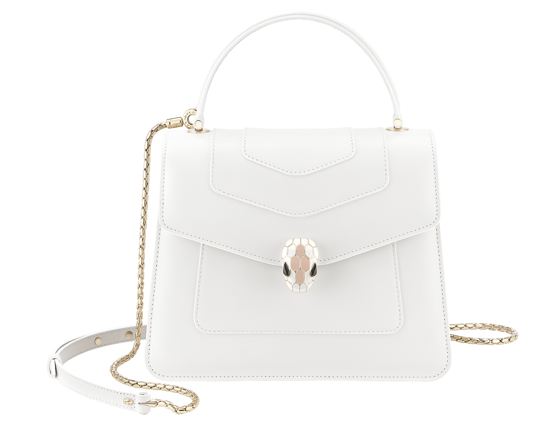 """Serpenti Forever "" top handle bag in white calf leather body and white agate and crystal rose calf leather sides. Iconic snake head closure in light gold plated brass enriched with white and crystal rose enamel and black onyx eyes. 289835 image 1"