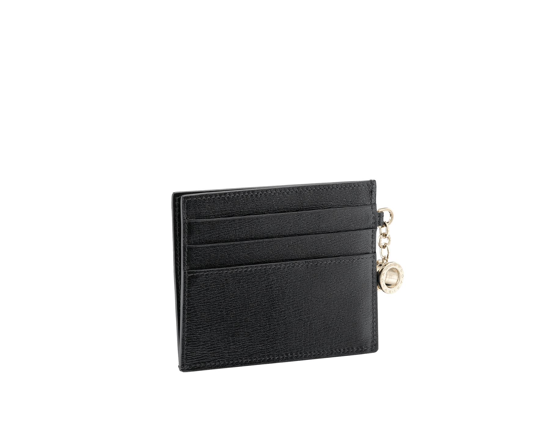 B.zero1 open credit card holder in black goatskin. Iconic B.zero1 charm in light gold plated brass. 288232 image 2
