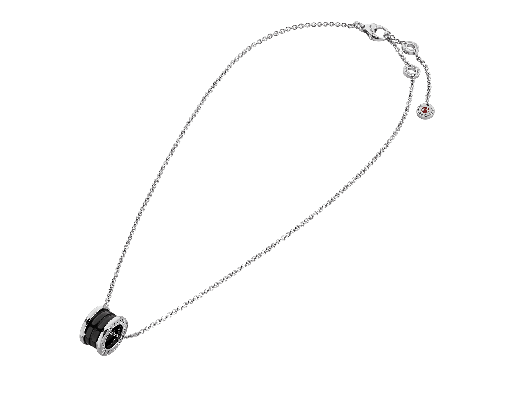 Save the Children necklace with sterling silver and black ceramic pendant, and sterling silver chain 349634 image 2